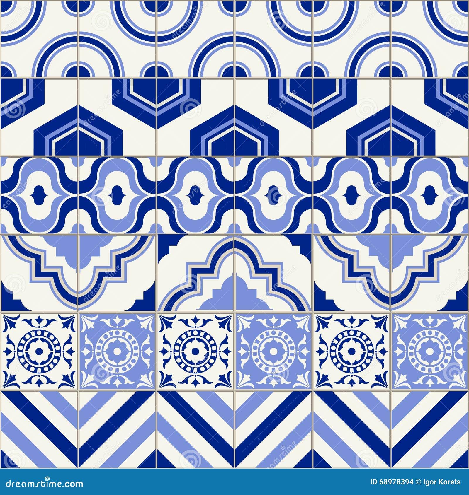 Mezcla inconsútil elegante del remiendo del modelo de seis tejas marroquíes en sombras de moda del azul