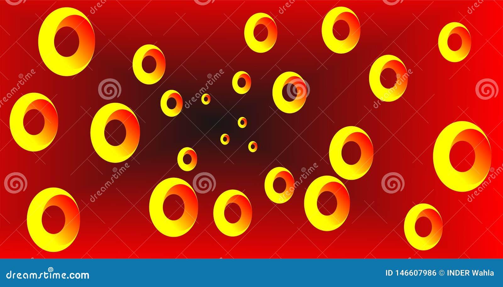Mezcla roja y negra, efecto amarillo de la ronda 3d