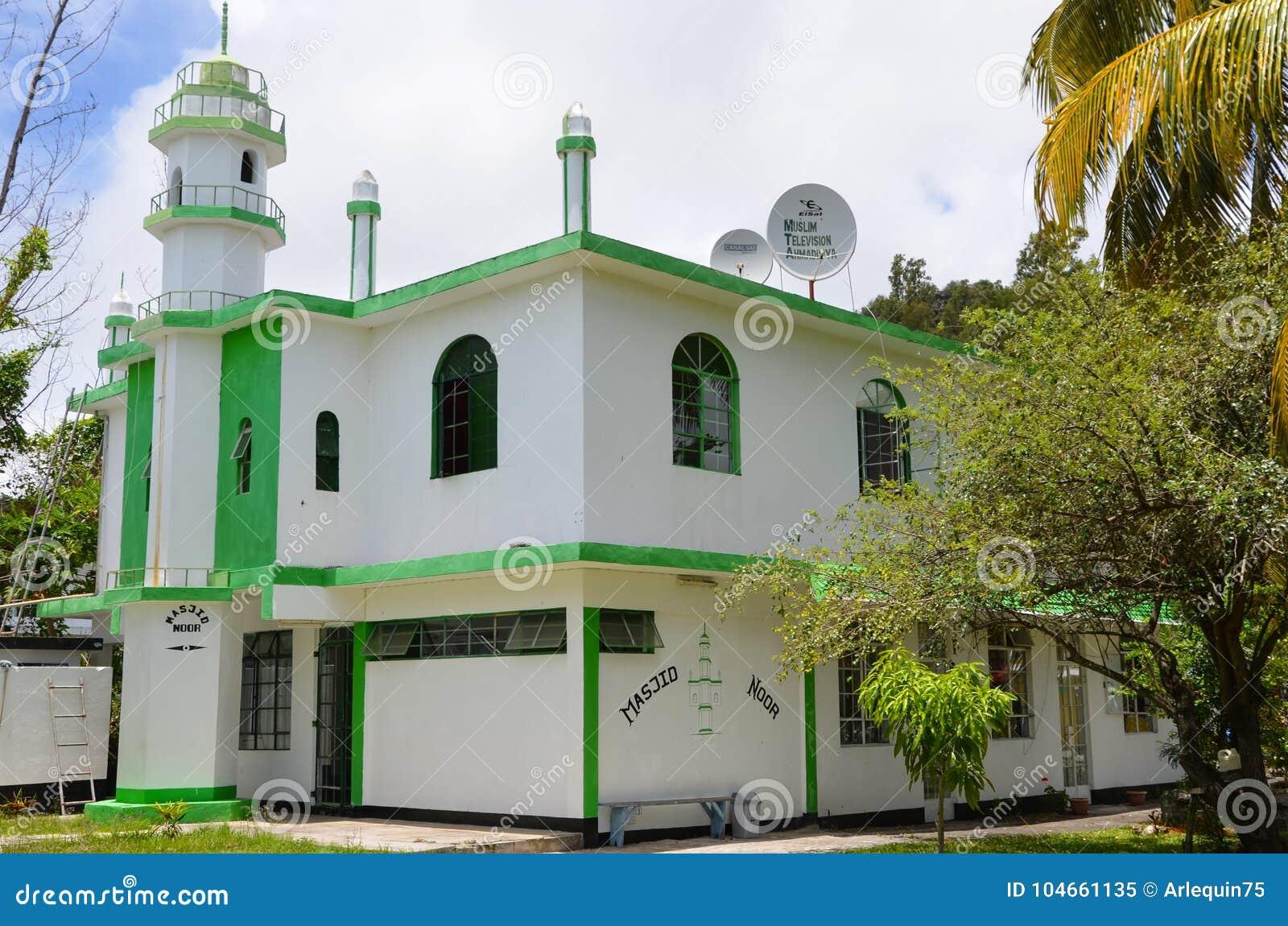 Mezquita de Ahmadiyya en el puerto Mathurin, Rodrigues, Mauricio