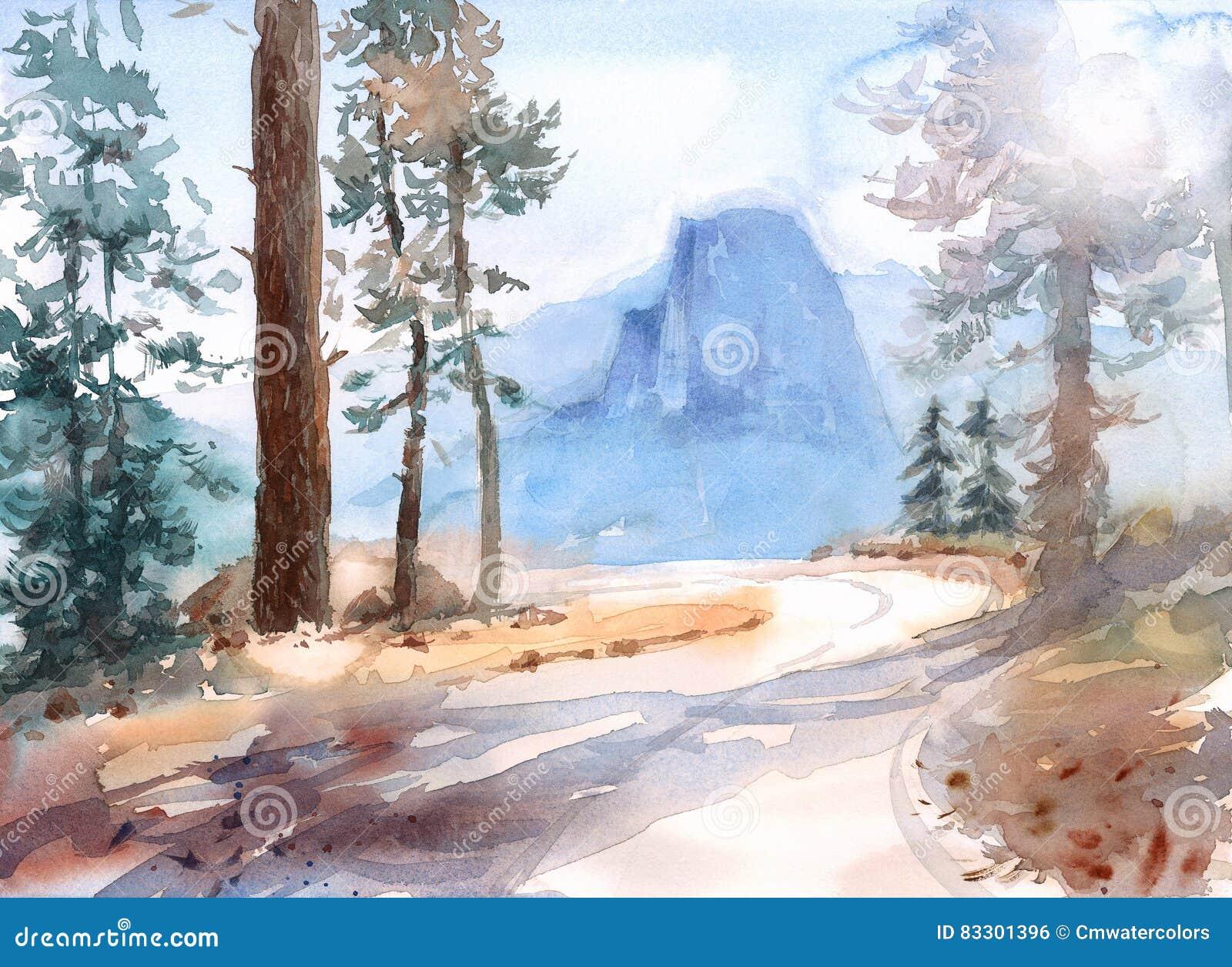 Mezza illustrazione della natura dell 39 acquerello del for Cabine di alloggio del parco nazionale di yosemite