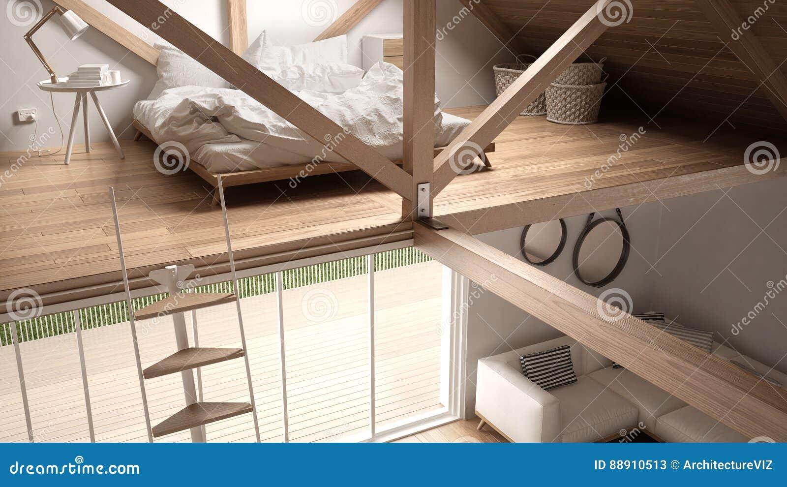 Mezzanine Loft Bedroom Stairs And Living With Sofa Minimalist