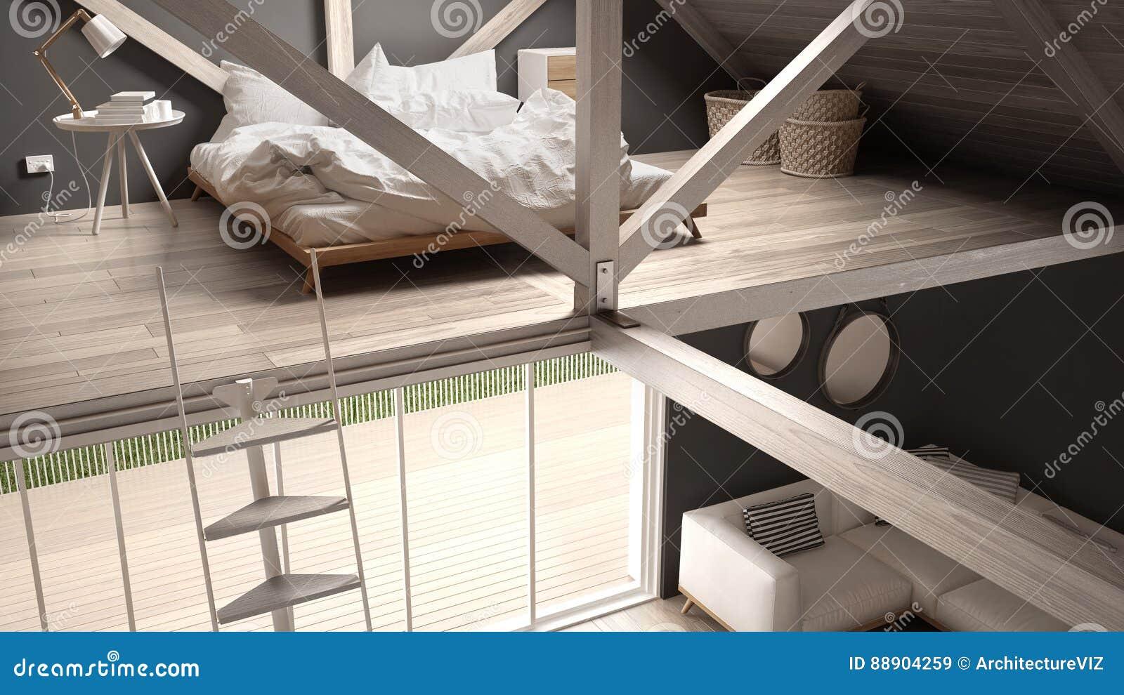 Mezzanine zolder slaapkamer treden en het leven met
