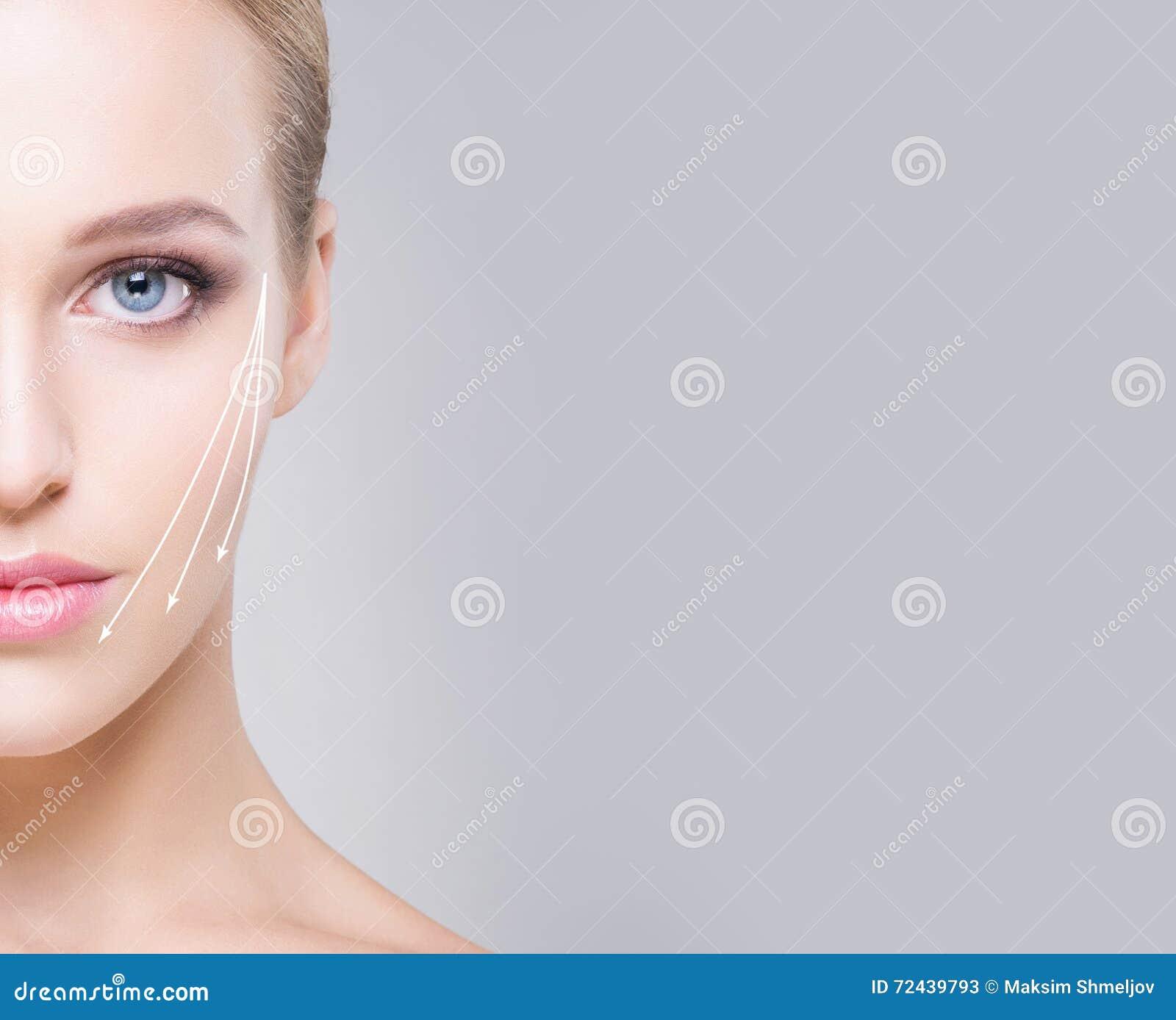 Mezzo ritratto del fronte della ragazza attraente con i bei occhi azzurri a