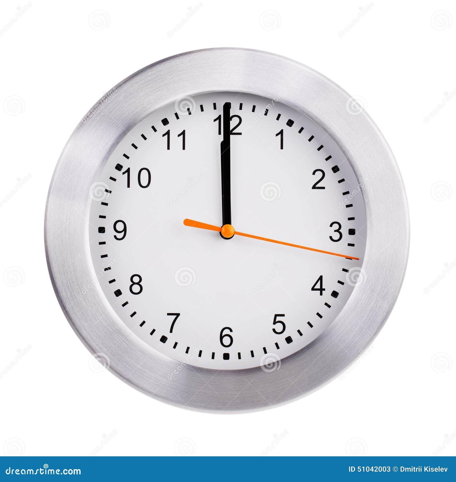 Mezzogiorno sul quadrante dell orologio rotondo
