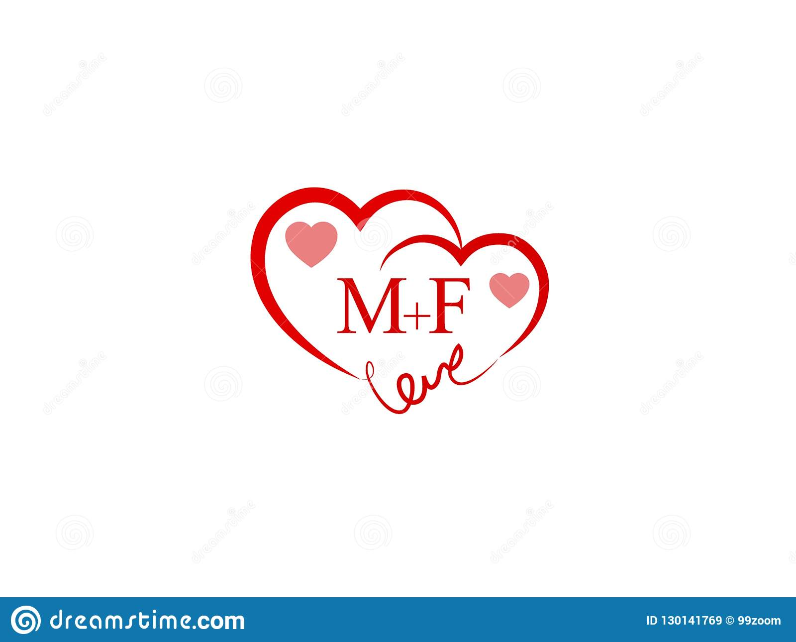Mf Initial Heart Shape Red Colored Love Logo Stock Vector