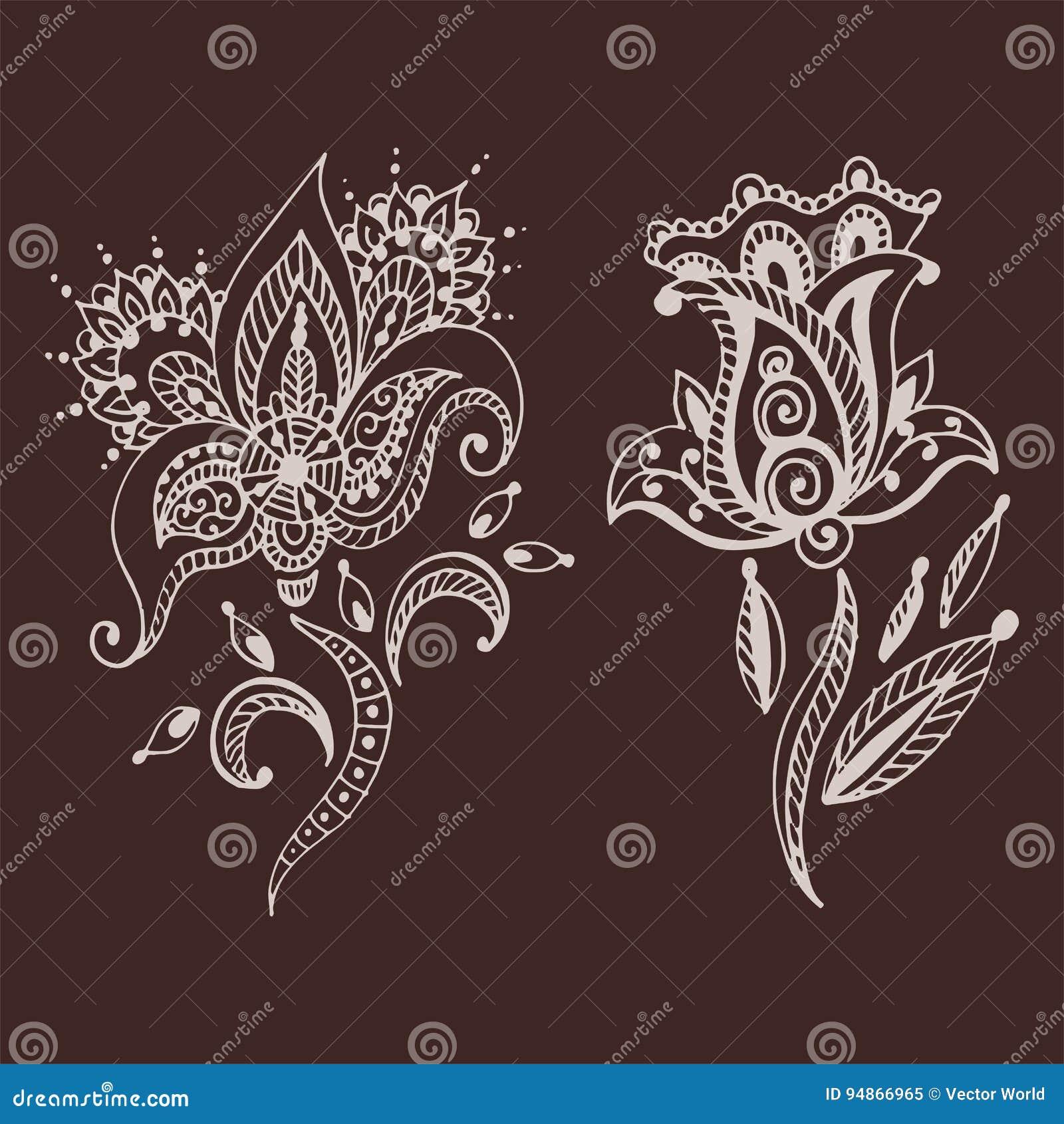 Mhendi indio decorativo ornamental del arabesque de Paisley del modelo del diseño del garabato de la flor del mehndi del marrón d