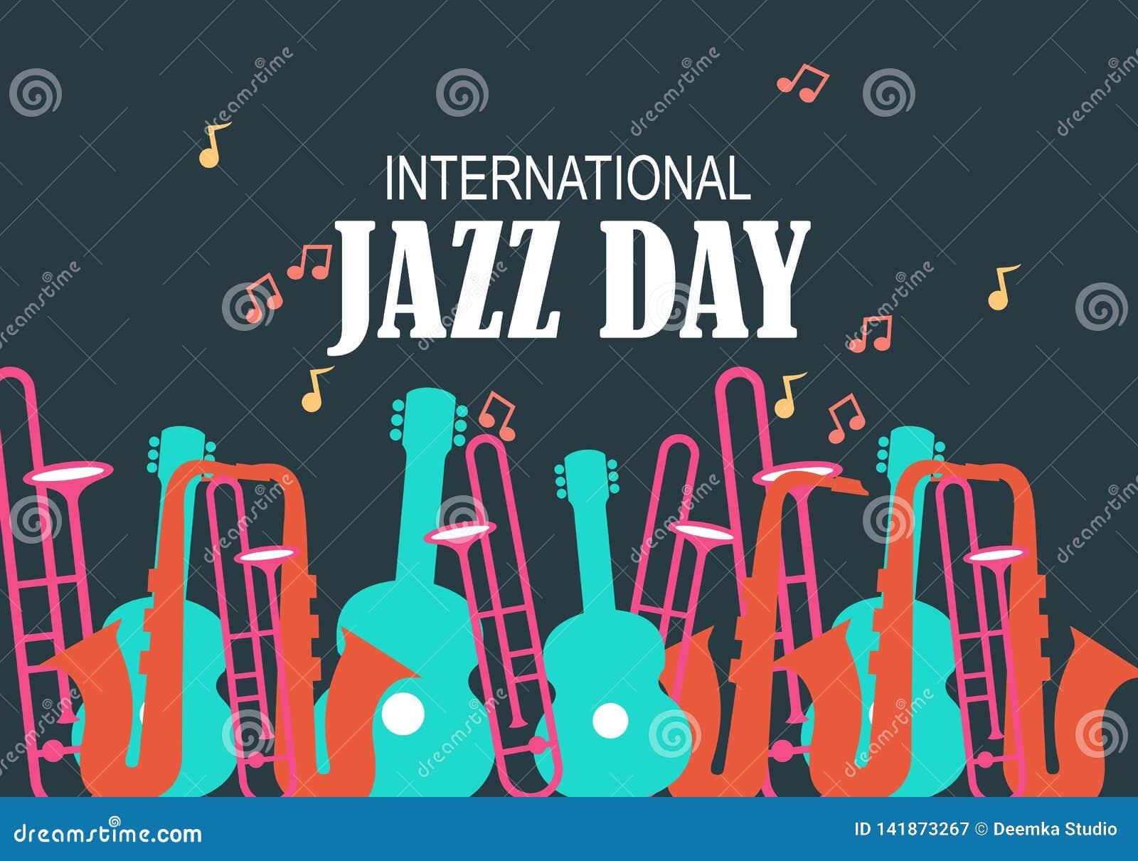 Międzynarodowa Jazzowa dnia wektoru ilustracja