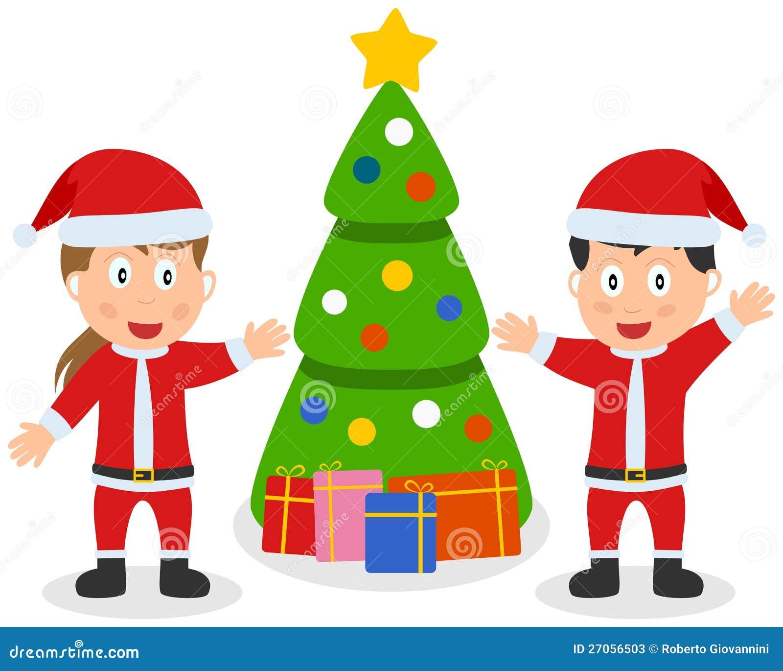 Miúdos, árvore & presentes de Papai Noel