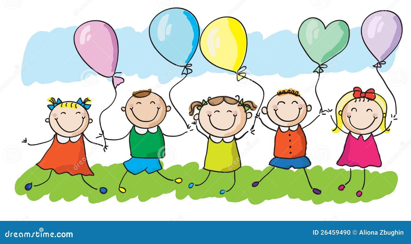 Miúdos com balões