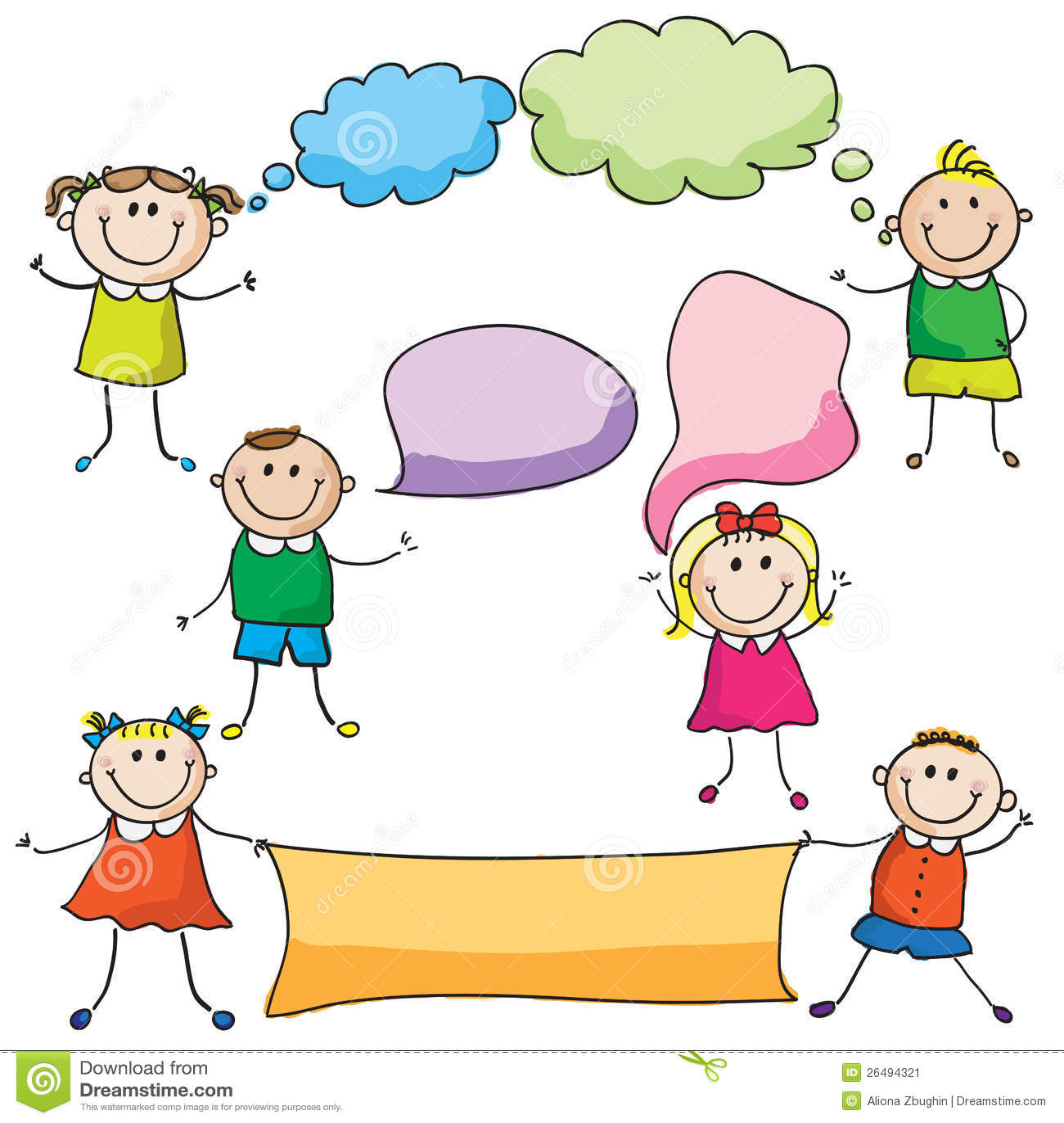 Miúdos com bolhas do discurso