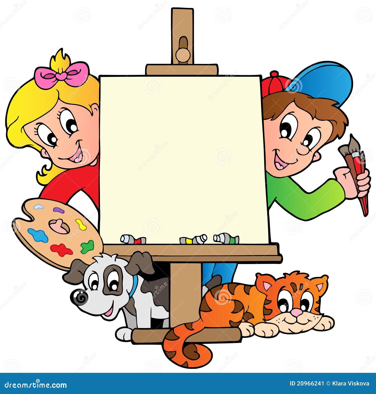Miúdos dos desenhos animados com lona de pintura
