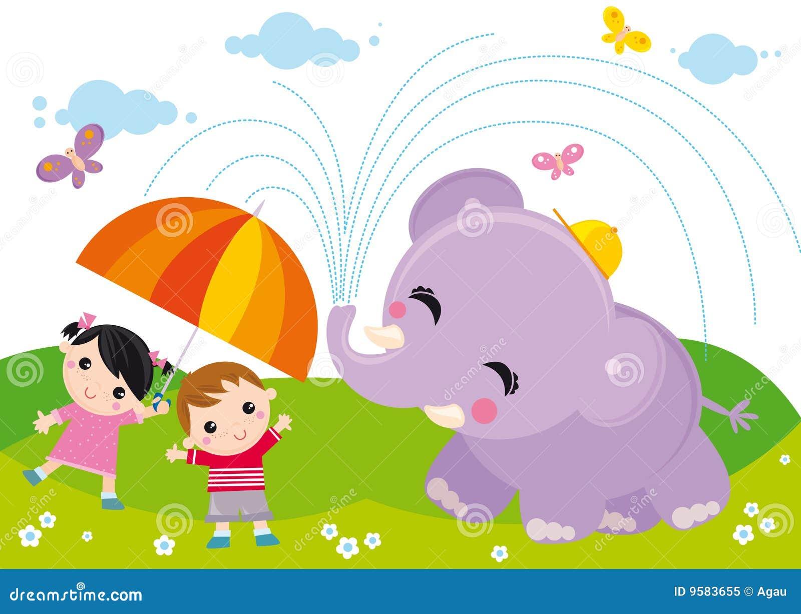 Miúdos e elefante
