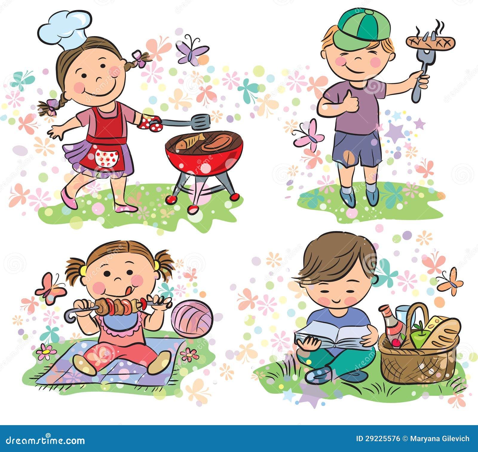 Download Miúdos No Piquenique Com Assado Ilustração do Vetor - Ilustração de pouco, expressar: 29225576