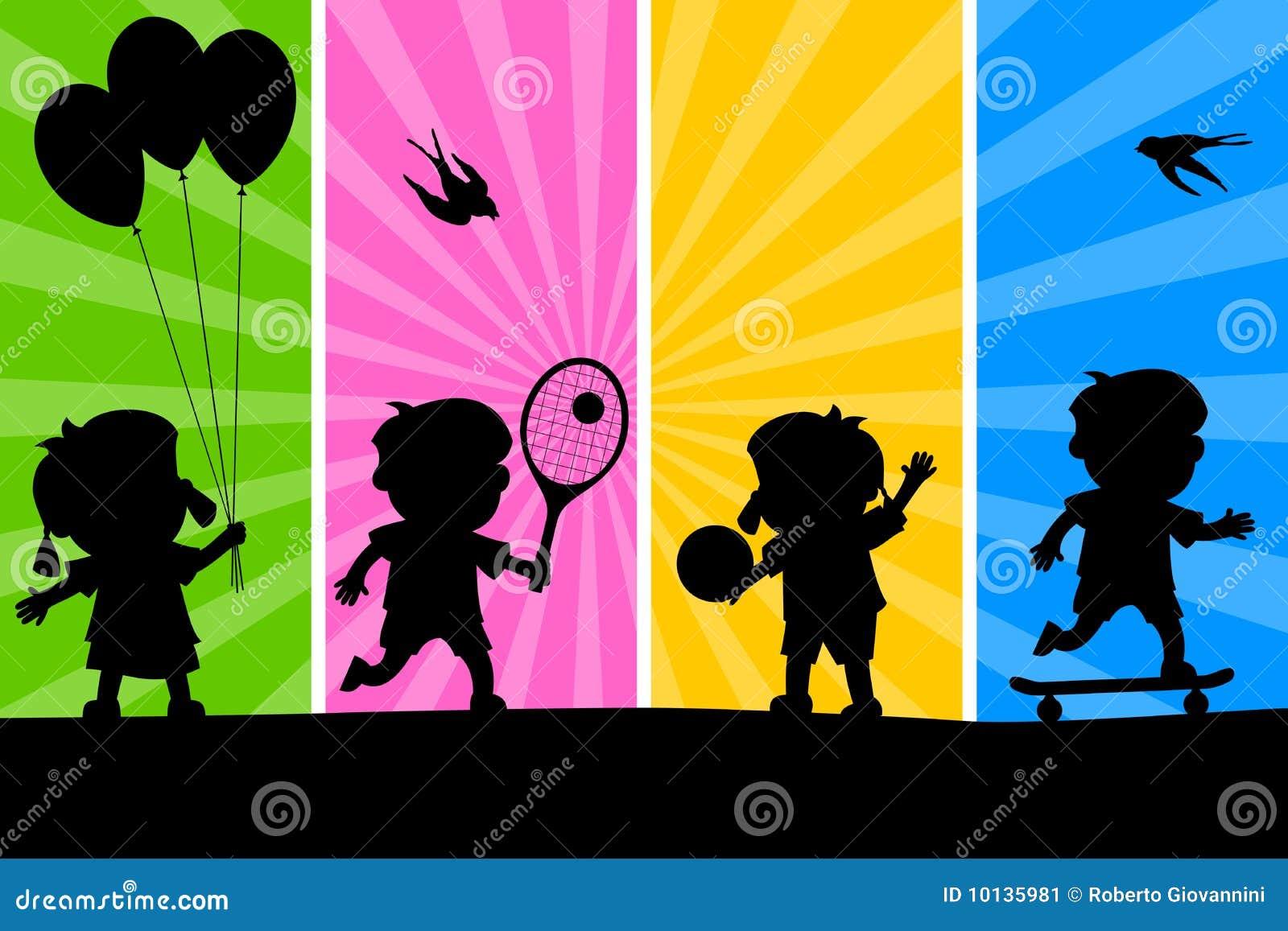 Miúdos que jogam as silhuetas [2]