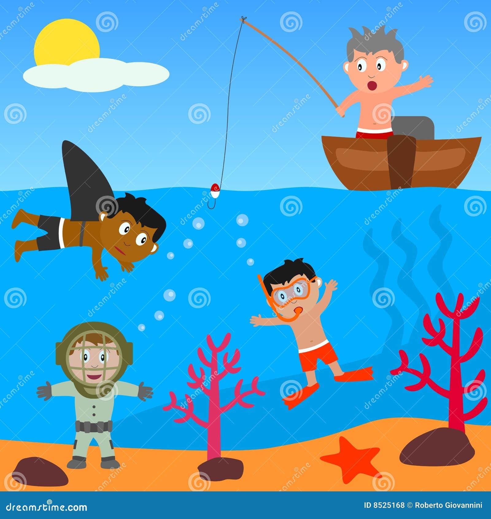 Miúdos que jogam no mar