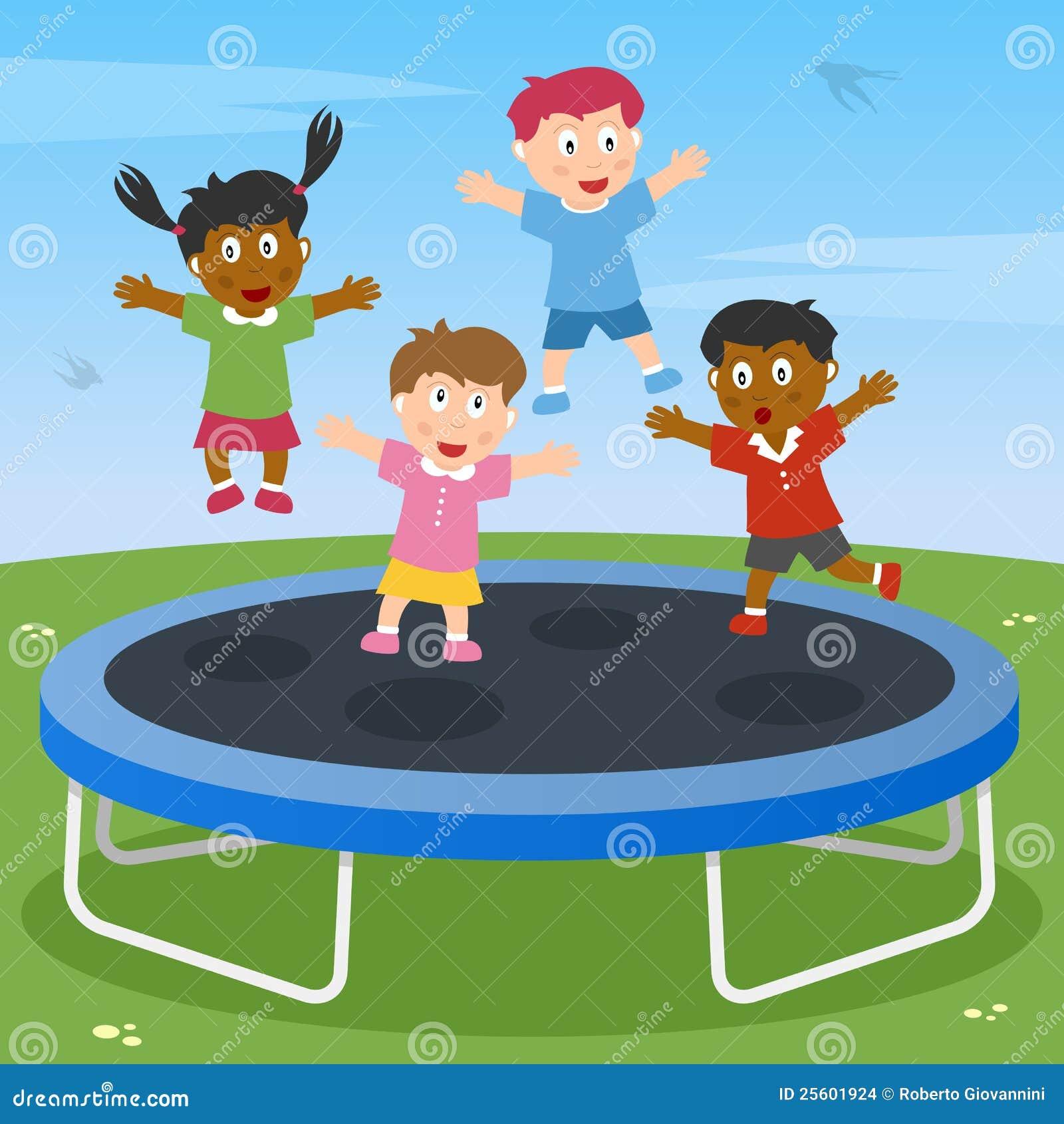 Miúdos que jogam no Trampoline