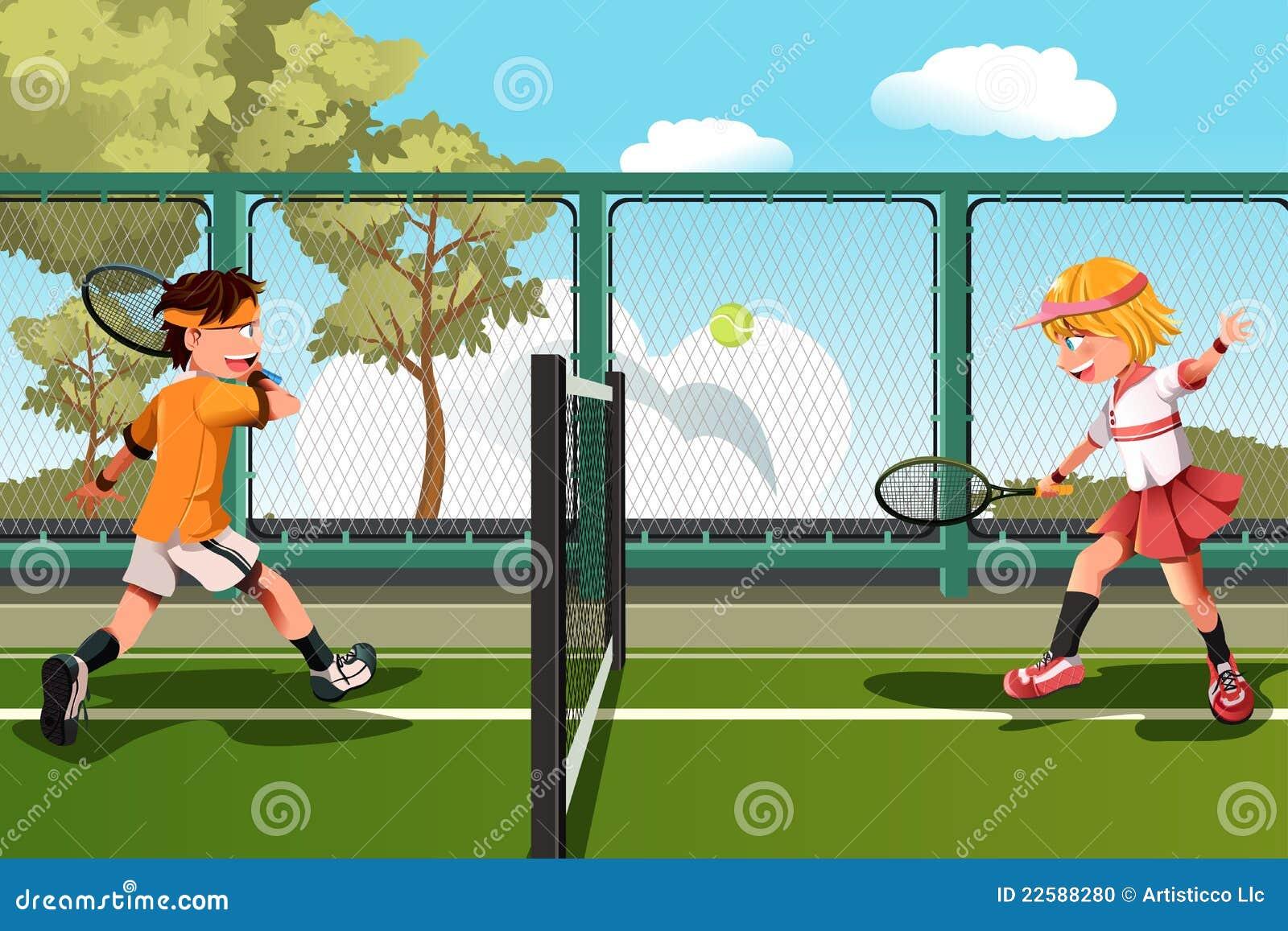 Miúdos que jogam o tênis