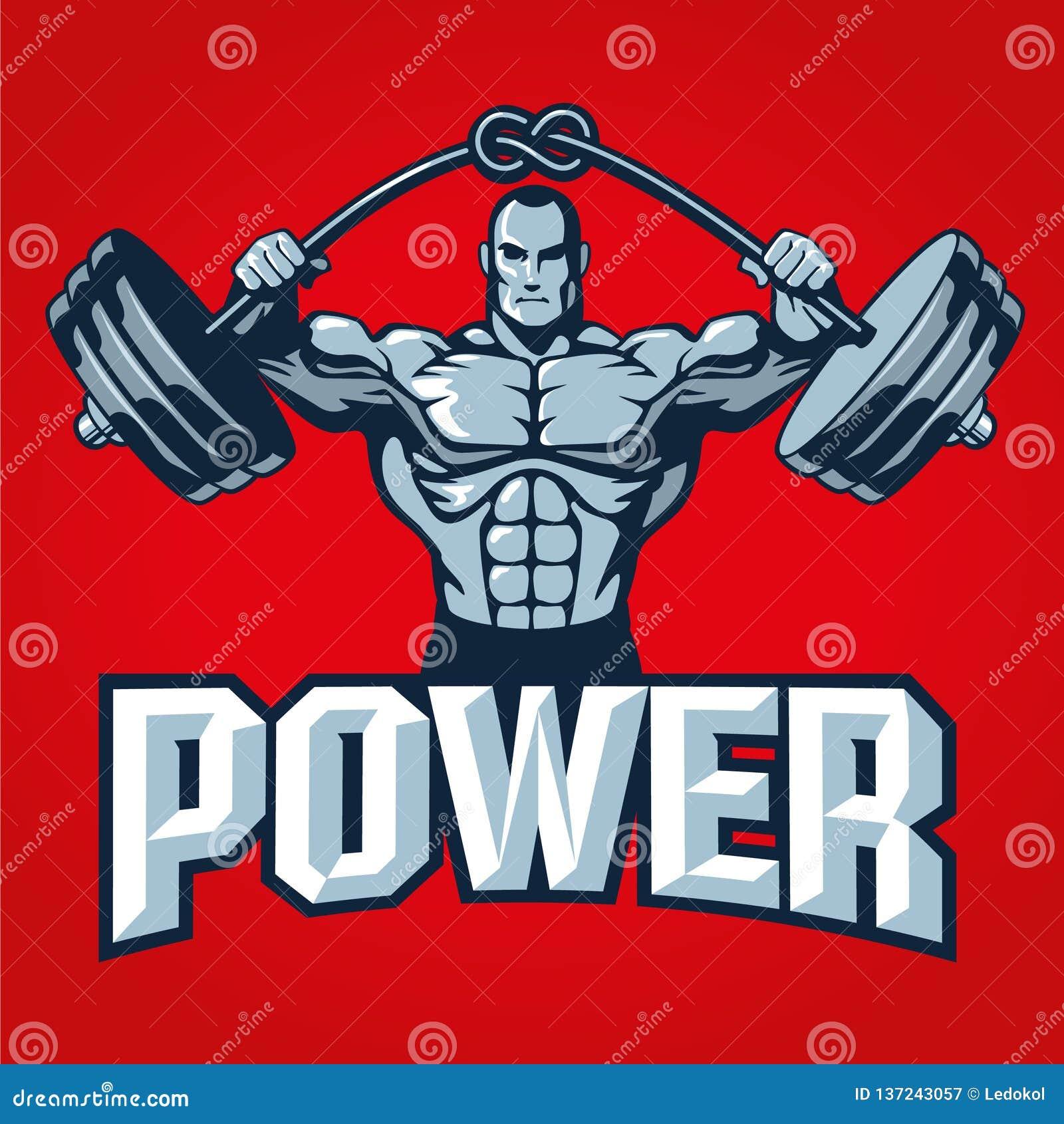 Mięśnia bodybuilder mężczyzna podnosi ciężkiego barbell z kępką Gym logo szablonu lub t druku koszulowy projekt również zwrócić c