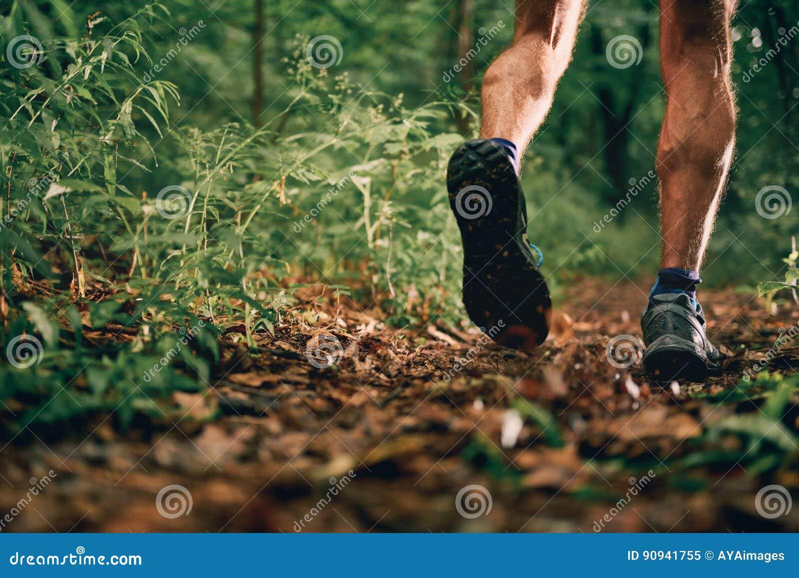 Mięśniowe łydki dysponowany męski jogger szkolenie dla przecinającego kraju lasowego śladu ścigają się w natura parku
