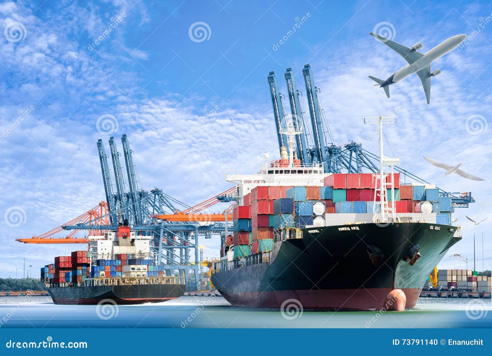 Międzynarodowy zbiornika ładunku statek i ładunku samolot dla logistycznie importa eksportujemy tło