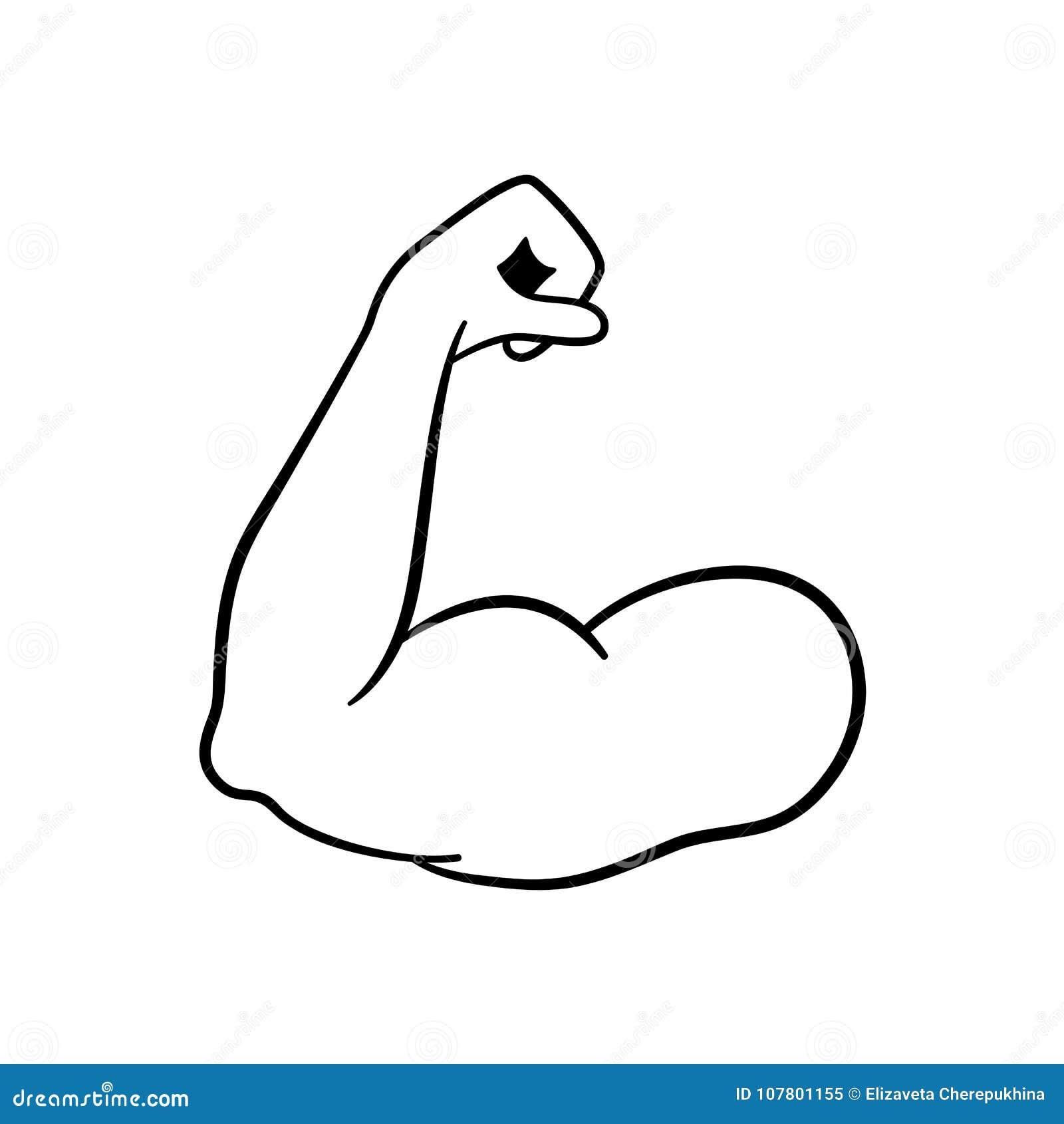 Mięsień ikona Silna władza Mięsień ręki wektoru ikona bicepsy kulturysta Sprawności fizycznej ikona