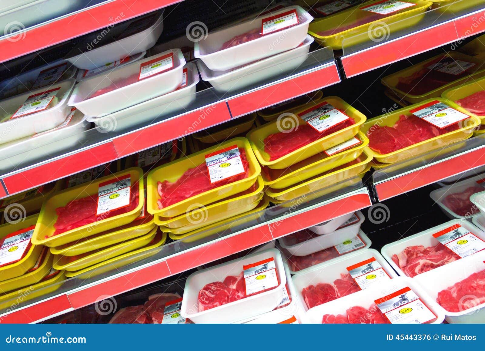 Mięso przy supermarketem