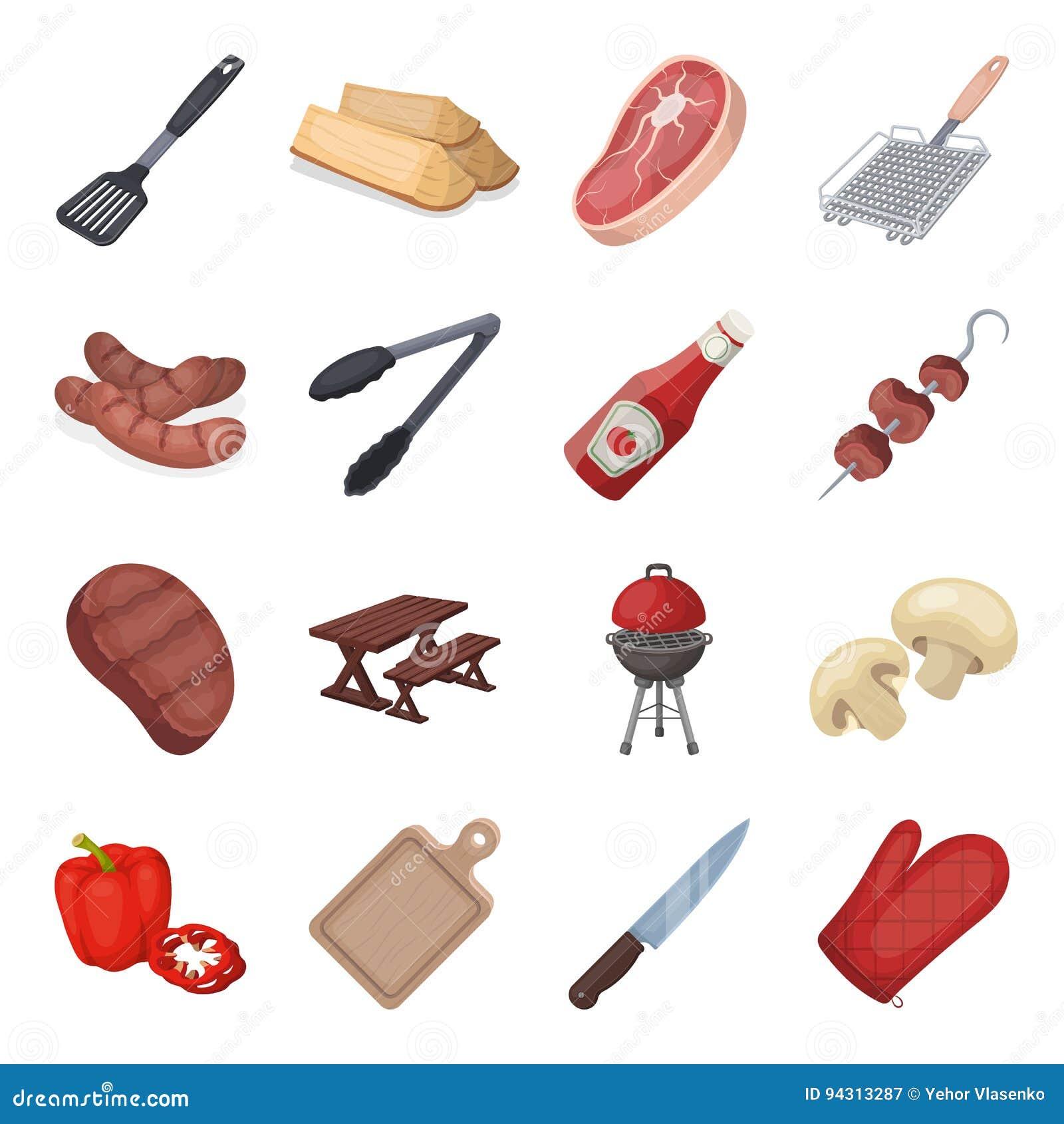 Mięso, stek, łupka, grill, stół i inni akcesoria dla grilla, BBQ ustalone inkasowe ikony w kreskówce projektują wektor