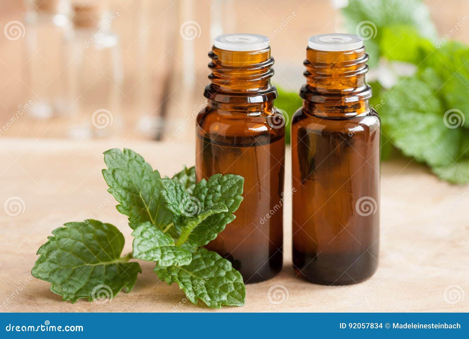 Miętówka istotny olej - dwa butelki z świeżymi nowymi liśćmi w przedpolu