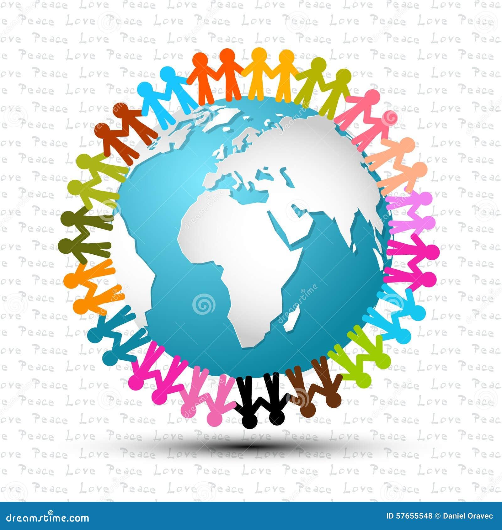 Miłość i pokój - ludzie Trzyma ręki Wokoło kuli ziemskiej