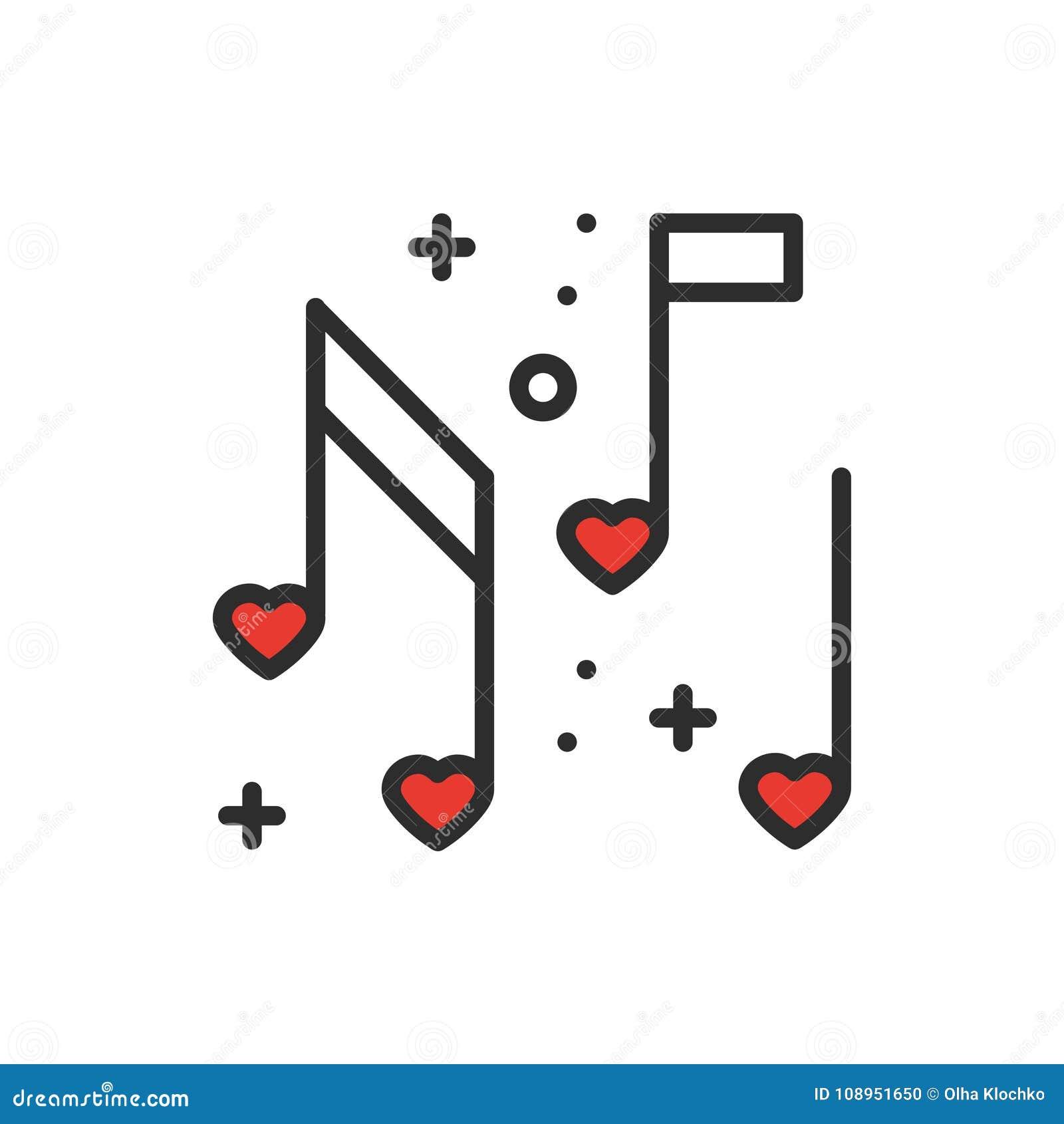 Miłość muzycznych kierowych notatek kreskowa ikona Znak i symbol Dyskoteka tana życia nocnego klubu przyjęcia temat Partyjna pods