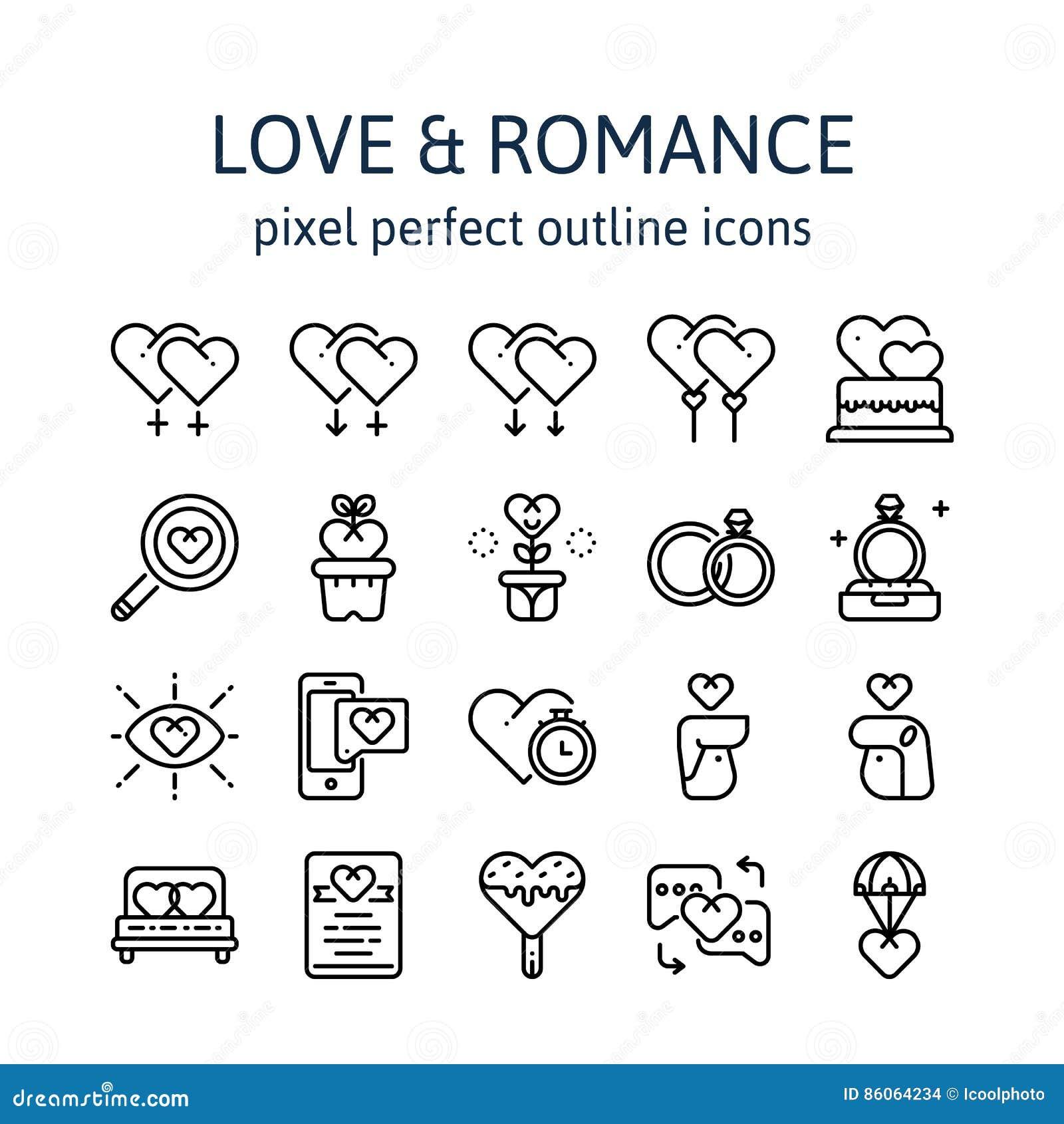 MIŁOŚĆ & romans: Kontur ikony, piktogram i symbol kolekcja,