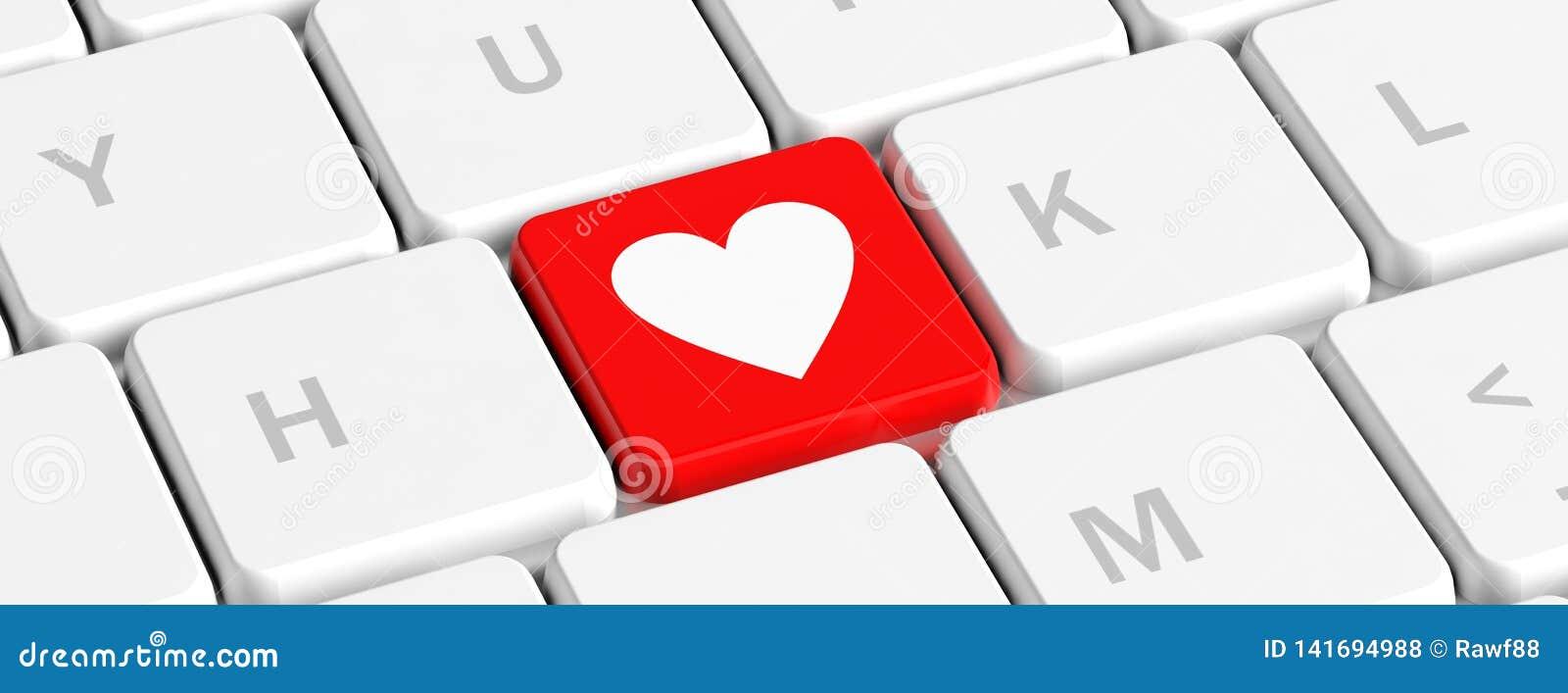 Miłość, zdrowie Rewolucjonistka klucza guzik z serce znakiem na komputerowej klawiaturze, sztandar ilustracja 3 d