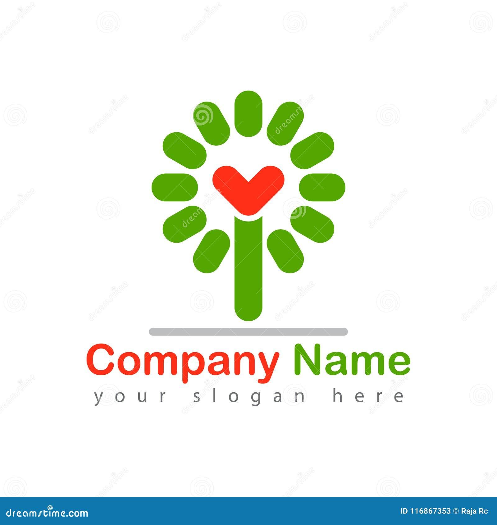 Miłości drzewa logotypu wektoru ilustracja