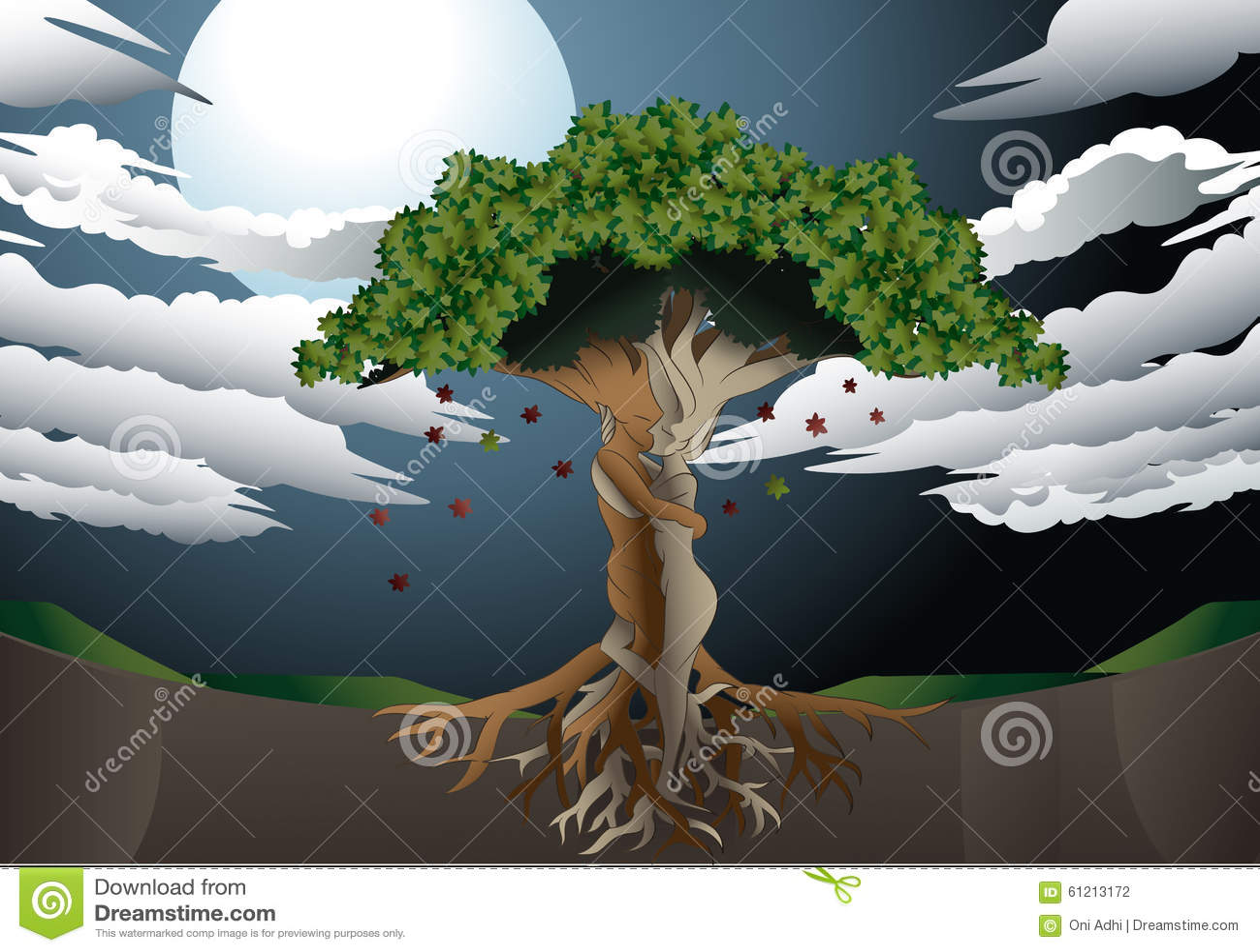 Miłości drzewo na księżyc w pełni tle