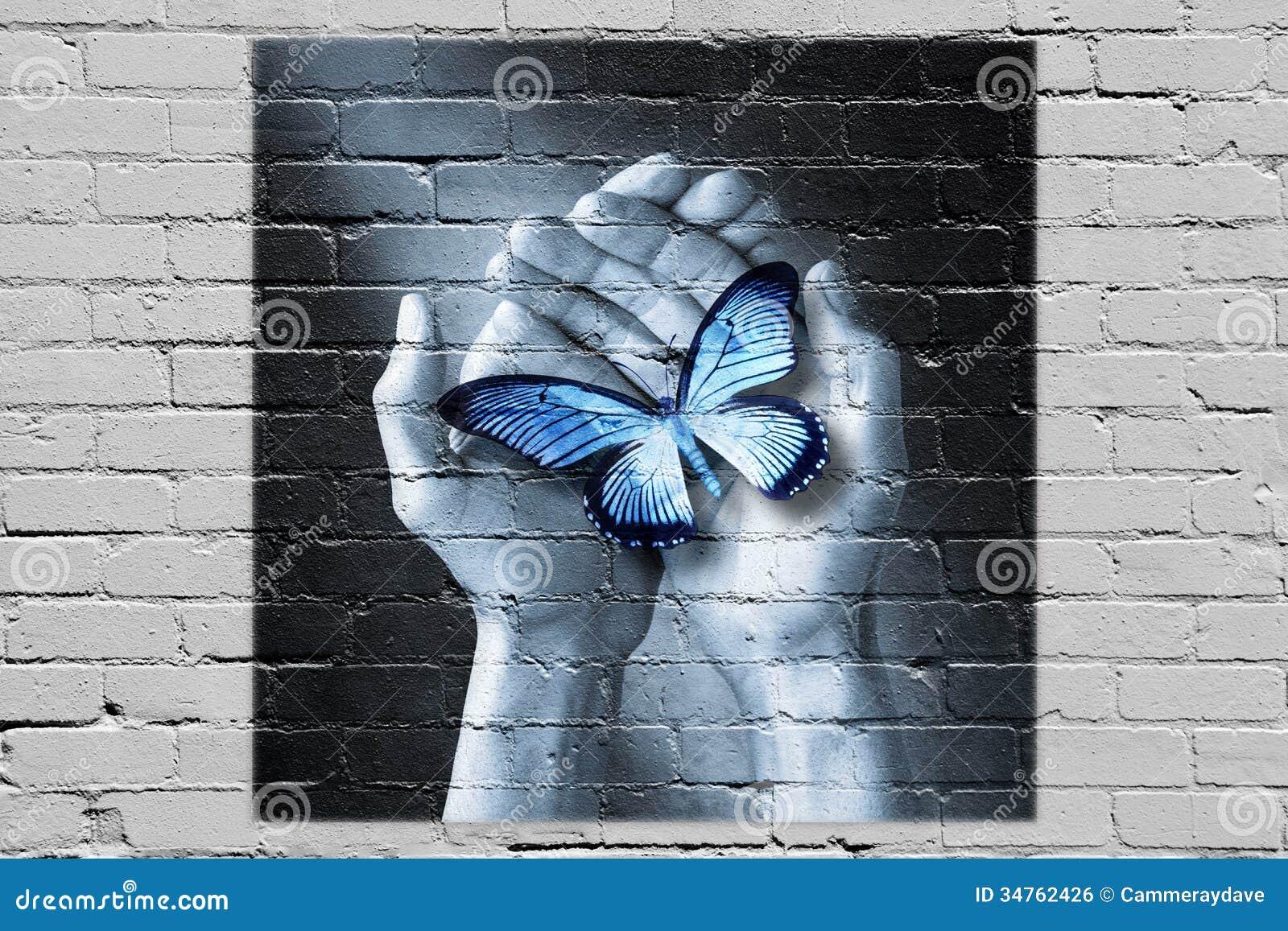 Miłości ręki Motyli graffiti