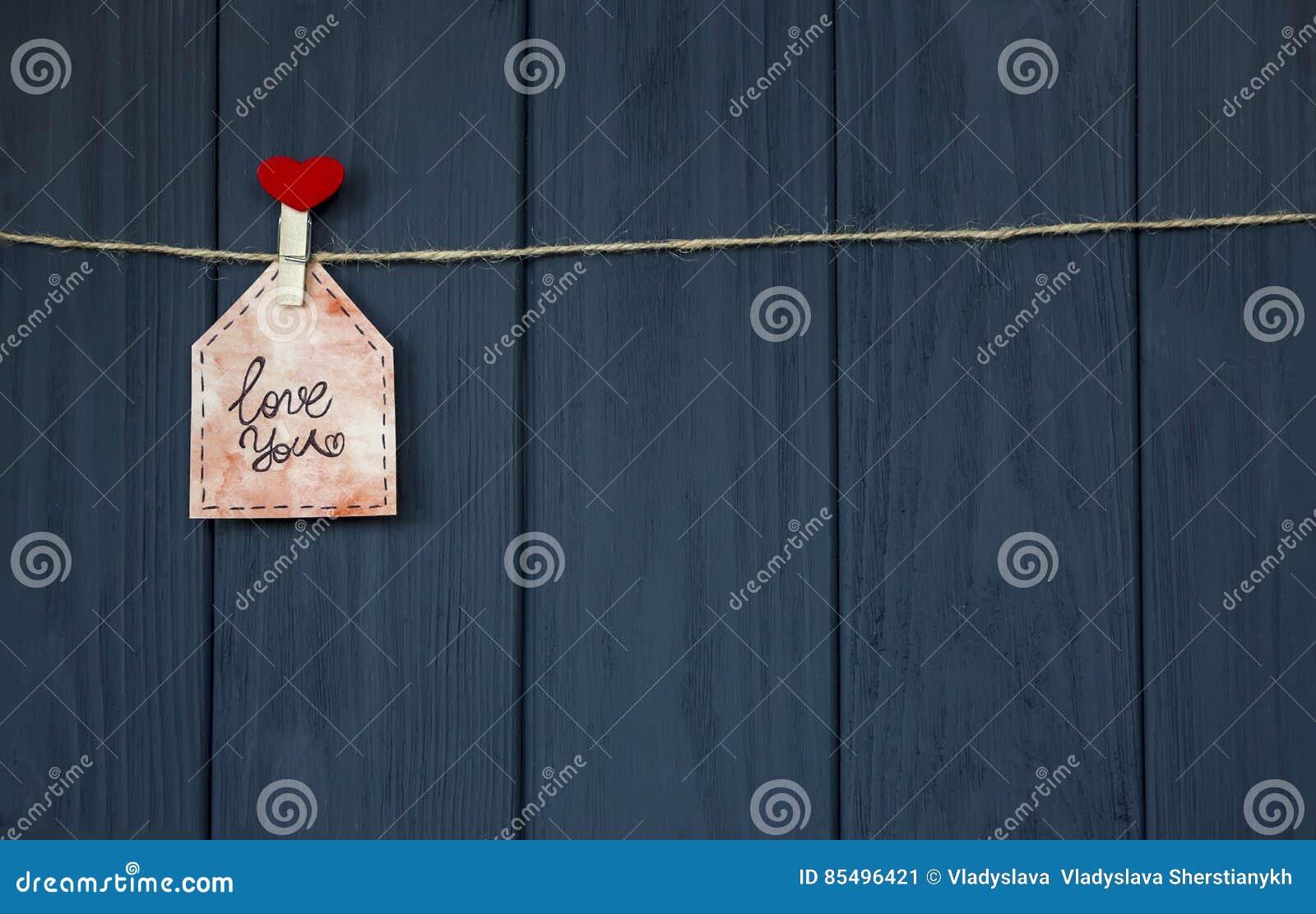 Miłości wiadomość na walentynki ` s dniu z słowa ` miłością ty ` i menchii serce _ Mieszkanie nieatutowy akwarela