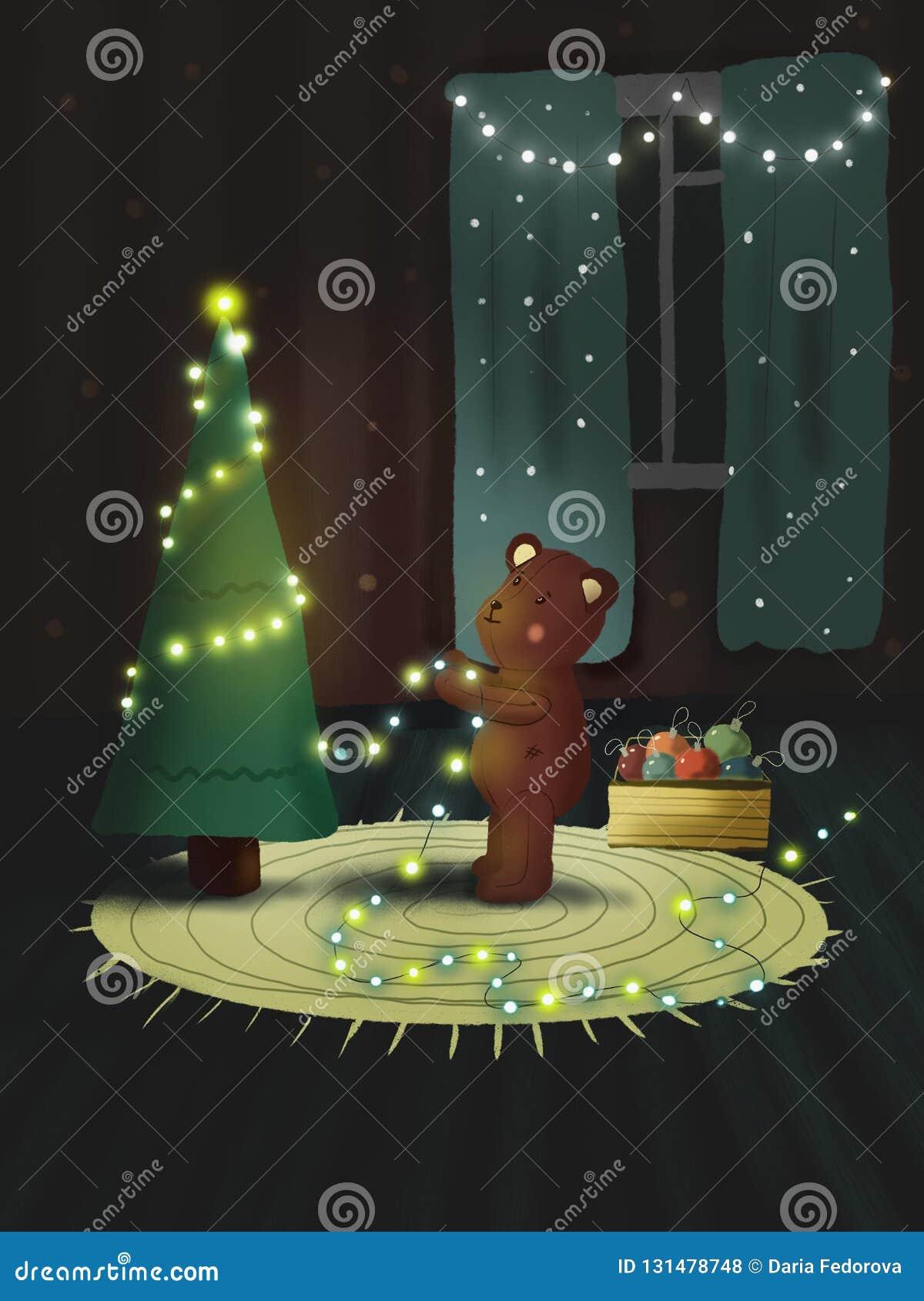 Miś czekać na nowego roku i dekoruje choinki