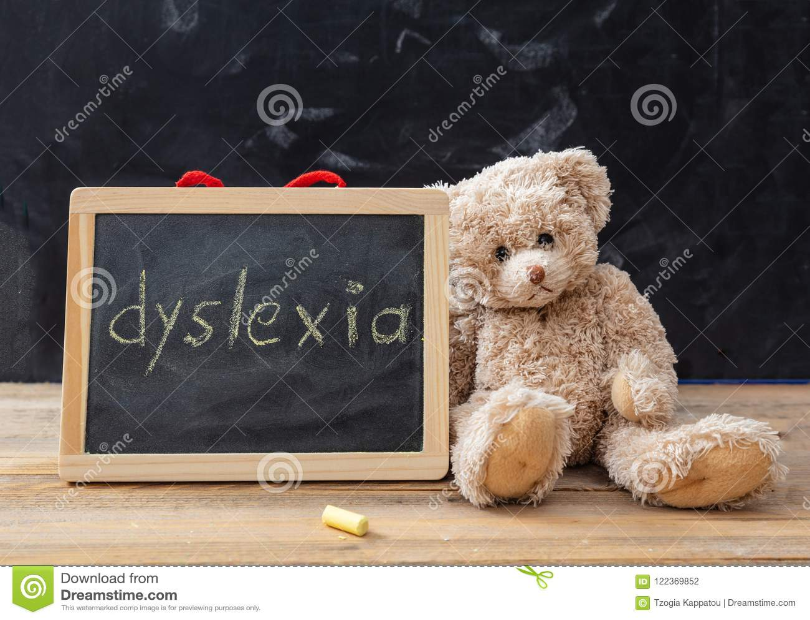 Miś i blackboard Dysleksja teksta rysunek na blackboard