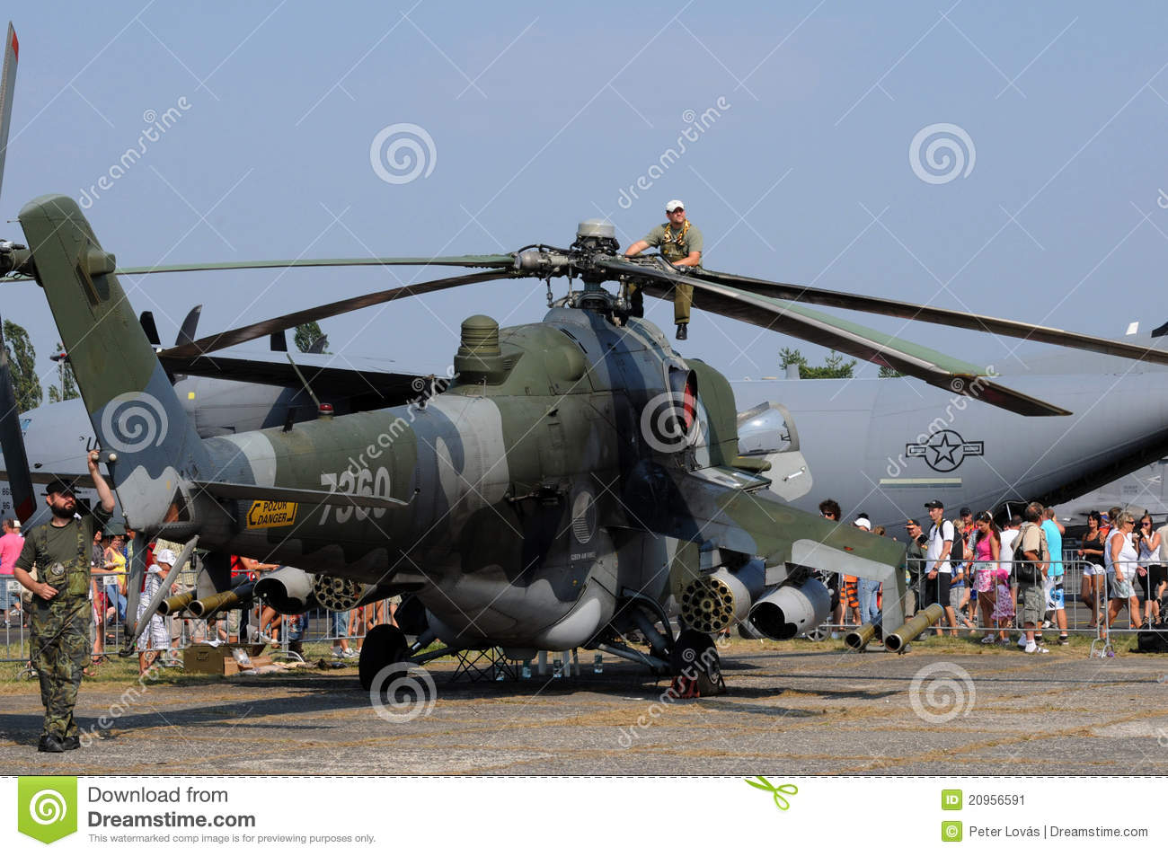 Mi-24V Hind Helicopter - Mechanic Sitting On A Pr Editorial Photo ...