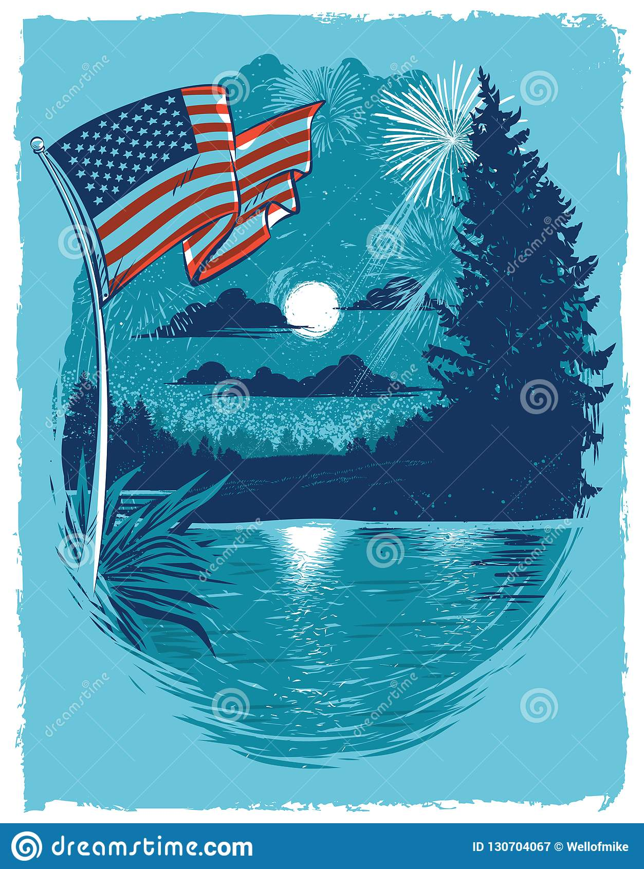 Independence Day Fireworks at the Lake Poster