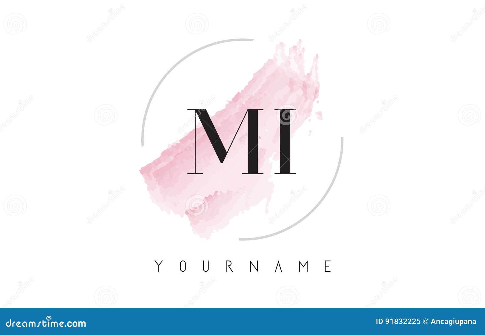 MI M I Watercolor Letter Logo Design With Circular Brush Pattern Stock Vector