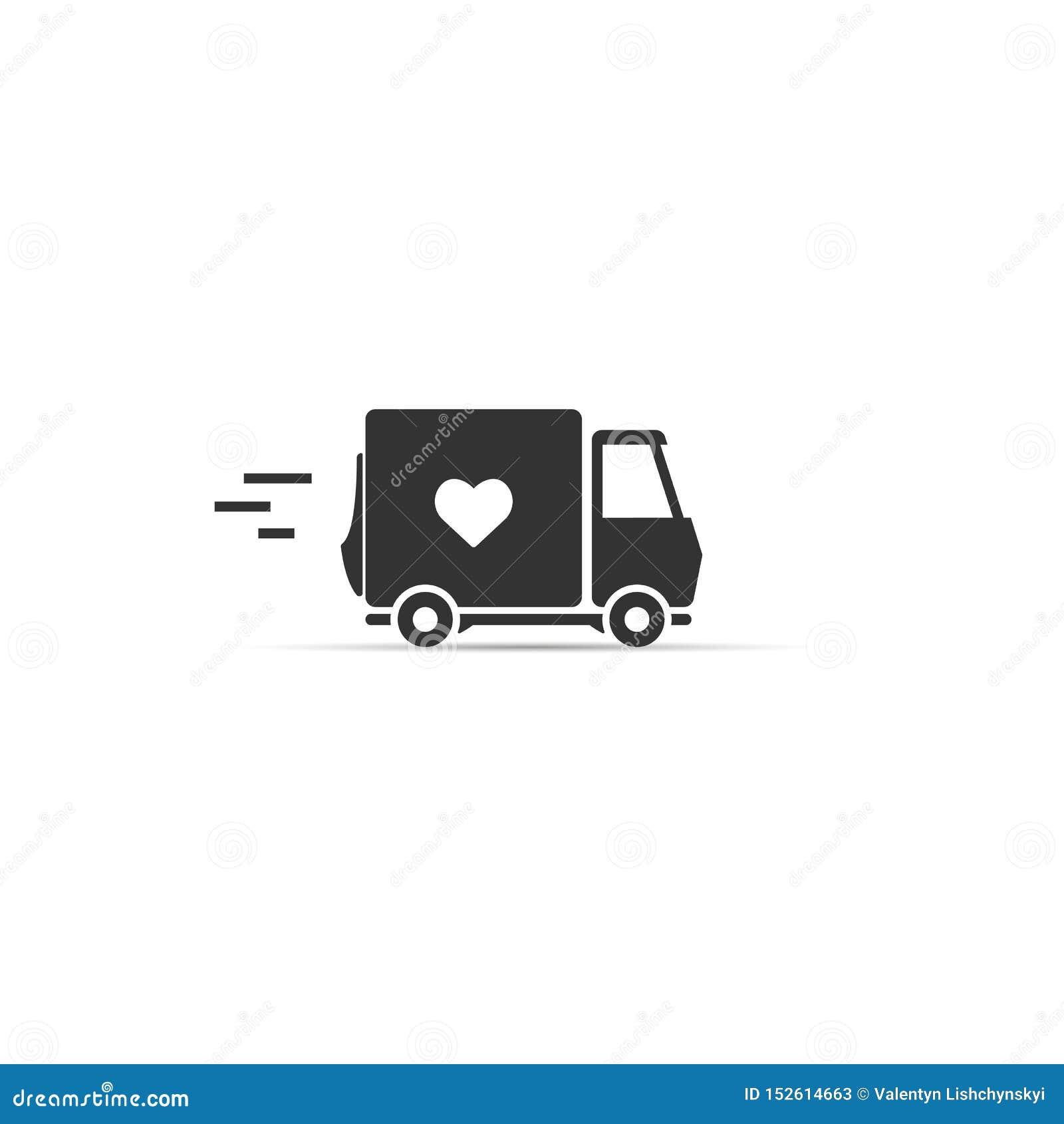 Mi?o?ci dostawa ciężarówka z kierową ikoną koloru p?omienia ustalonego symbolu wektor