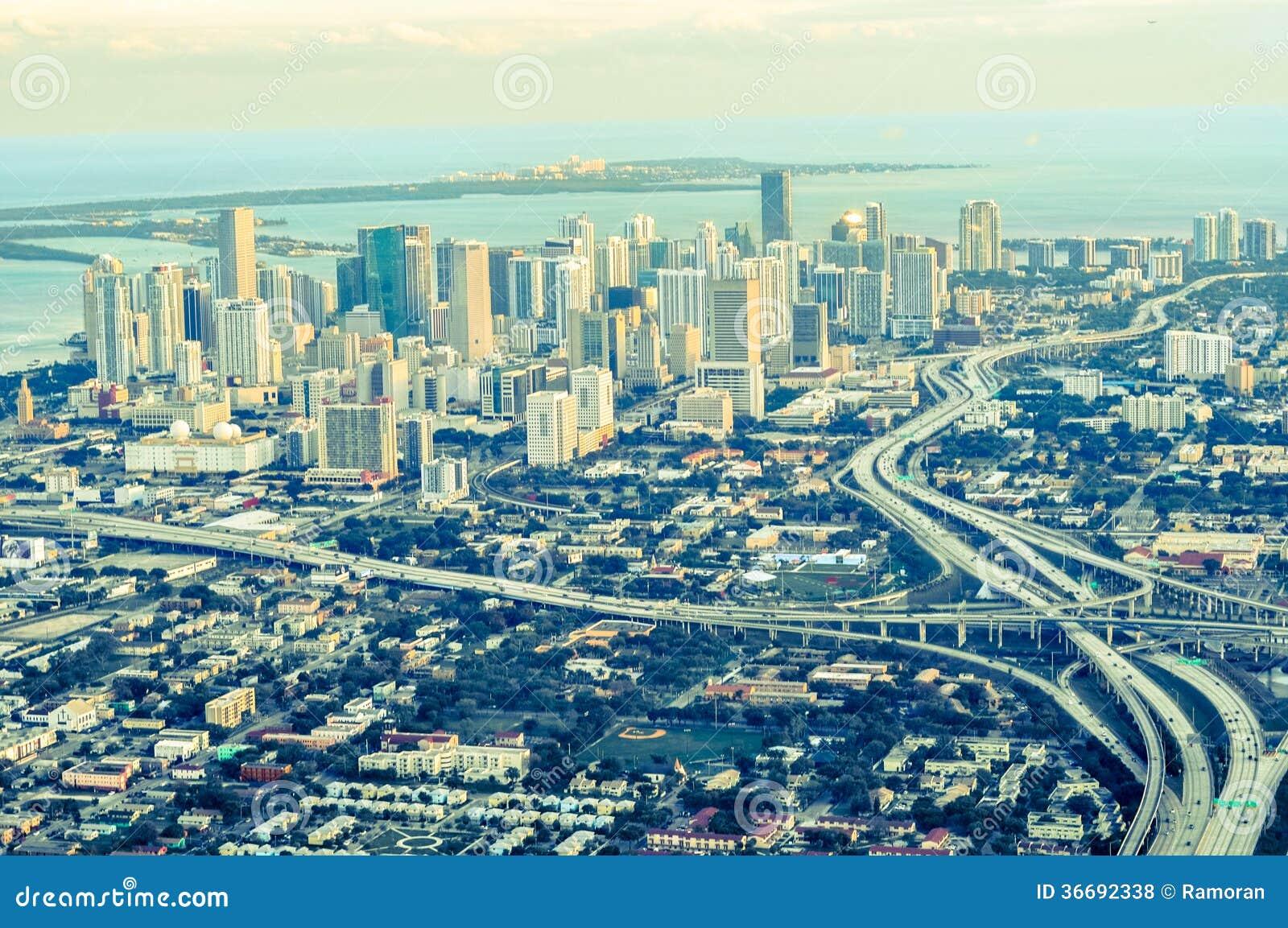 miami aerial view royalty free stock photos