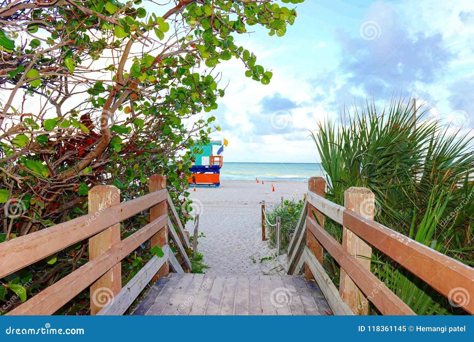 miami beach boardwalk stock image. image of boardwalk