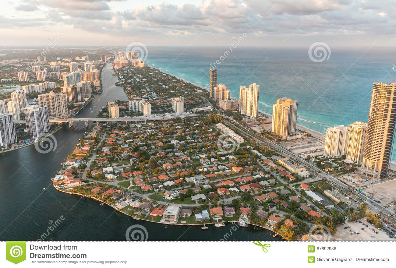 Miami Beach, Florida. Amazing sunset view from helicopter