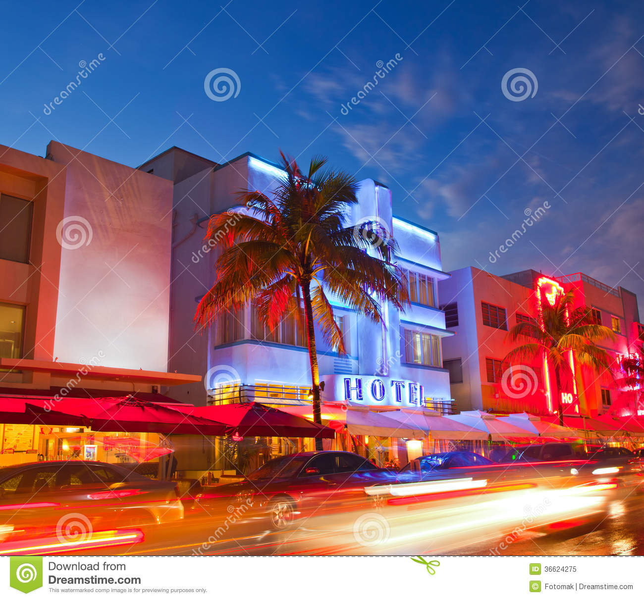 miami beach  florida hotels and restaurants at sunse stock image