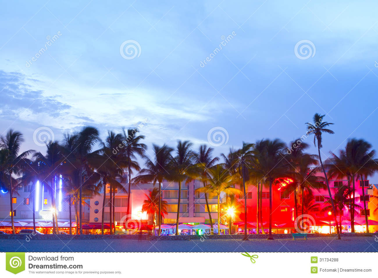 miami beach  florida hotels and restaurants at sunset stock photo