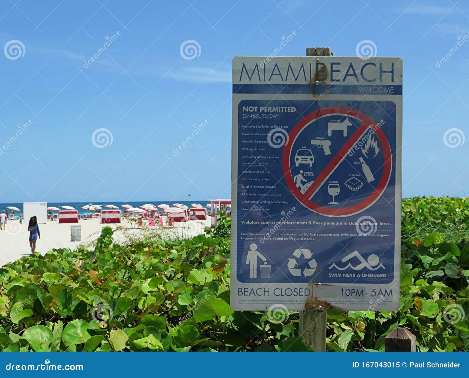miami beach - 17.08.2019: signage at miami beach editorial
