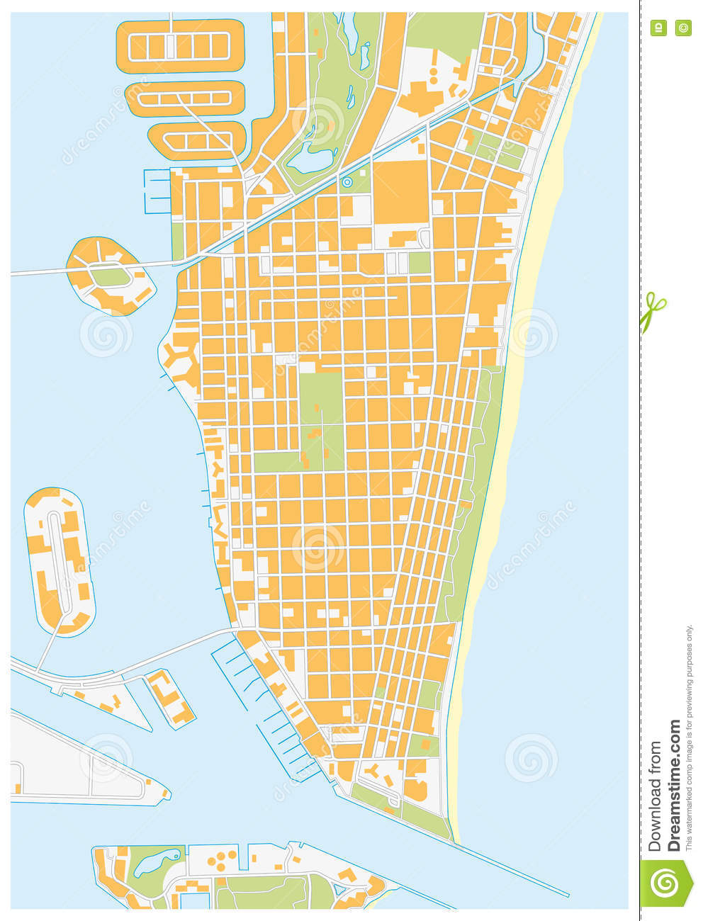 Miami Beach Street Map Florida Stock Illustration Illustration Of