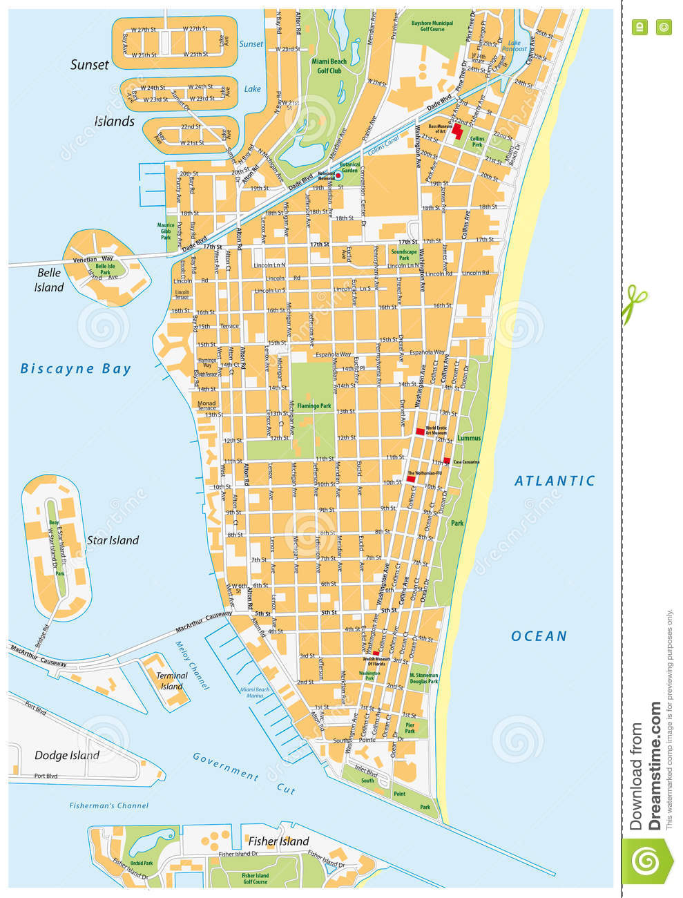 MiamiBeach Street Map Florida Stock Illustration Image - Florida map beach